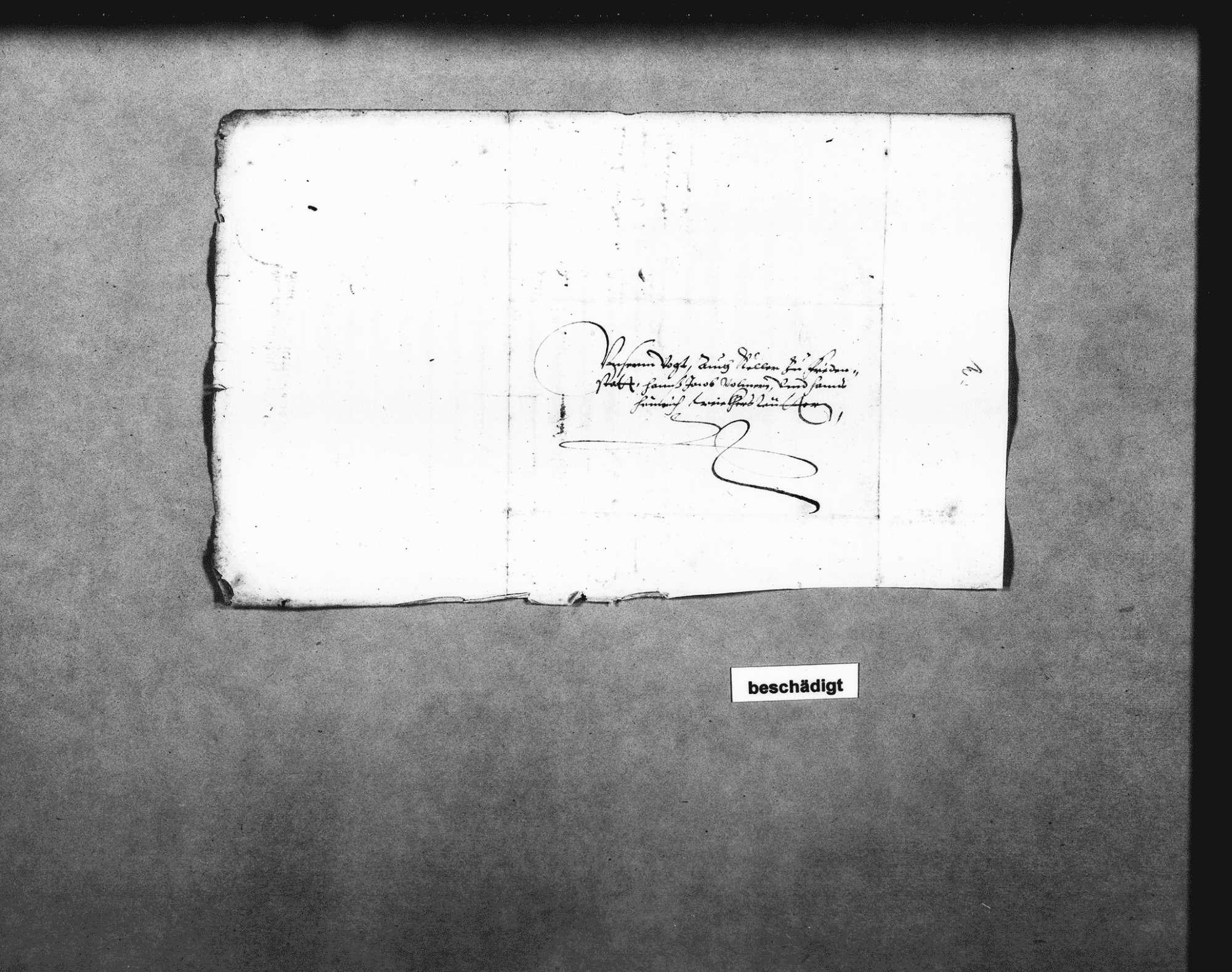 Dekret von Herzog Friedrich I. an den Vogt und Keller in Freudenstadt für ein Gutachten über die Einsturzgefahr des Kaufhauses, zu fertigen unter Einbeziehung von Michel Nagel (Kirchenmeister), Martin Martin (Zimmermann), Kilian Kesenbrot (Zimmermann) u. a. (Folio), Bild 2