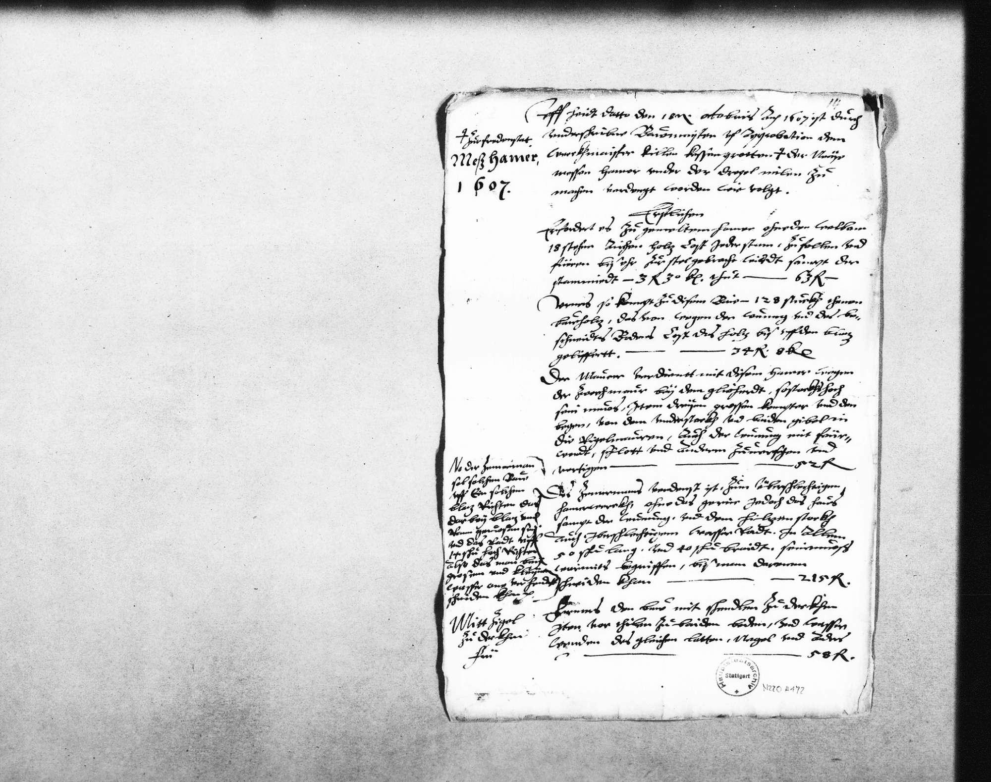 Neuer Stahlhammer und Messinghammer unter der Drechselmühle, Vertrag mit Kilian Kesenbrot, 1607 (Folio), Bericht an den Herzog, 1607 (3 Folio), Notiz (Quart), Bild 2