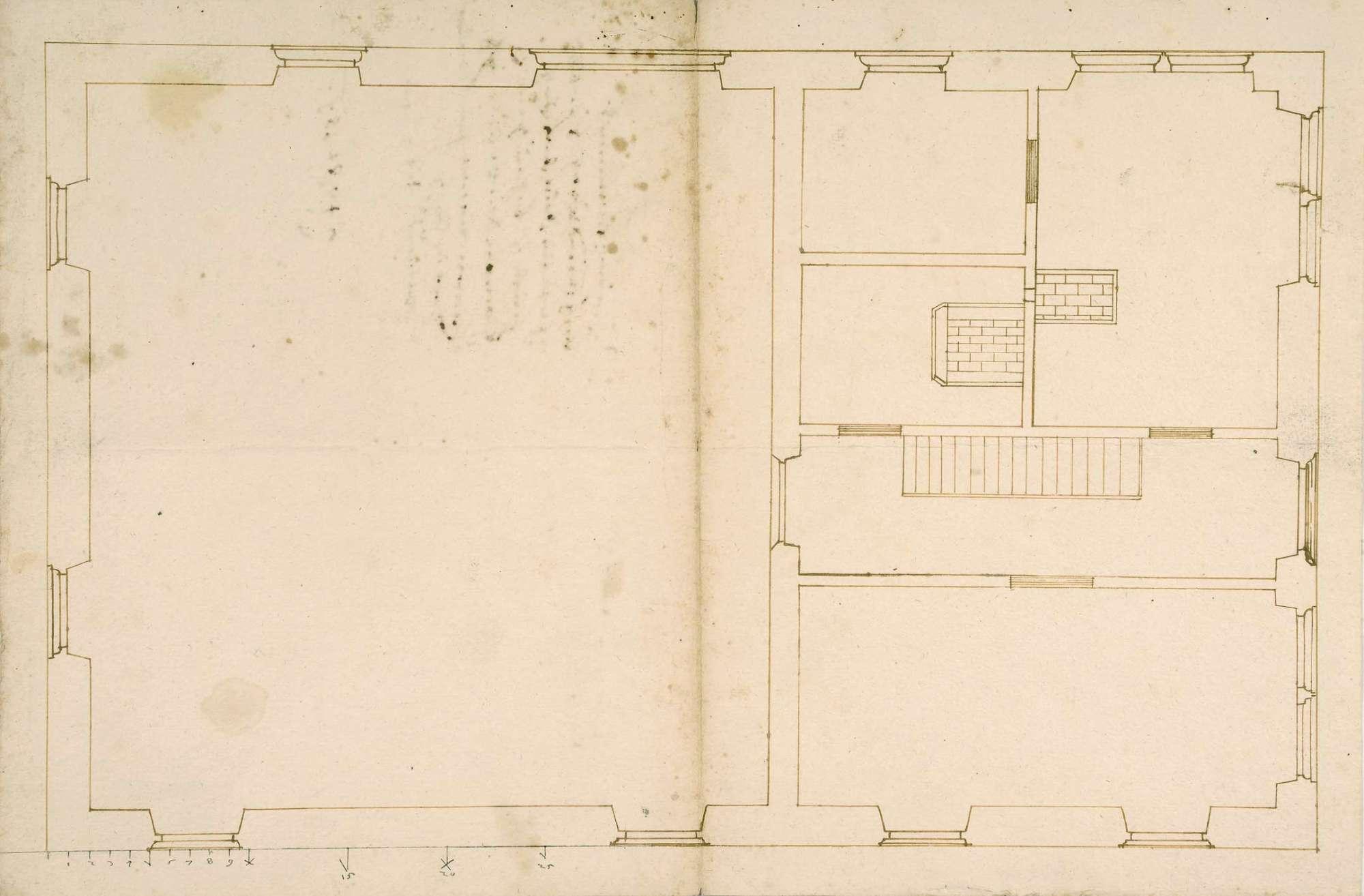 Grundriss vom Haus des Rotschmieds, gefertigt für Schickhardt von Kilian Kesenbrot, auf starkem Papier (Folio Doppelblatt), Bild 2