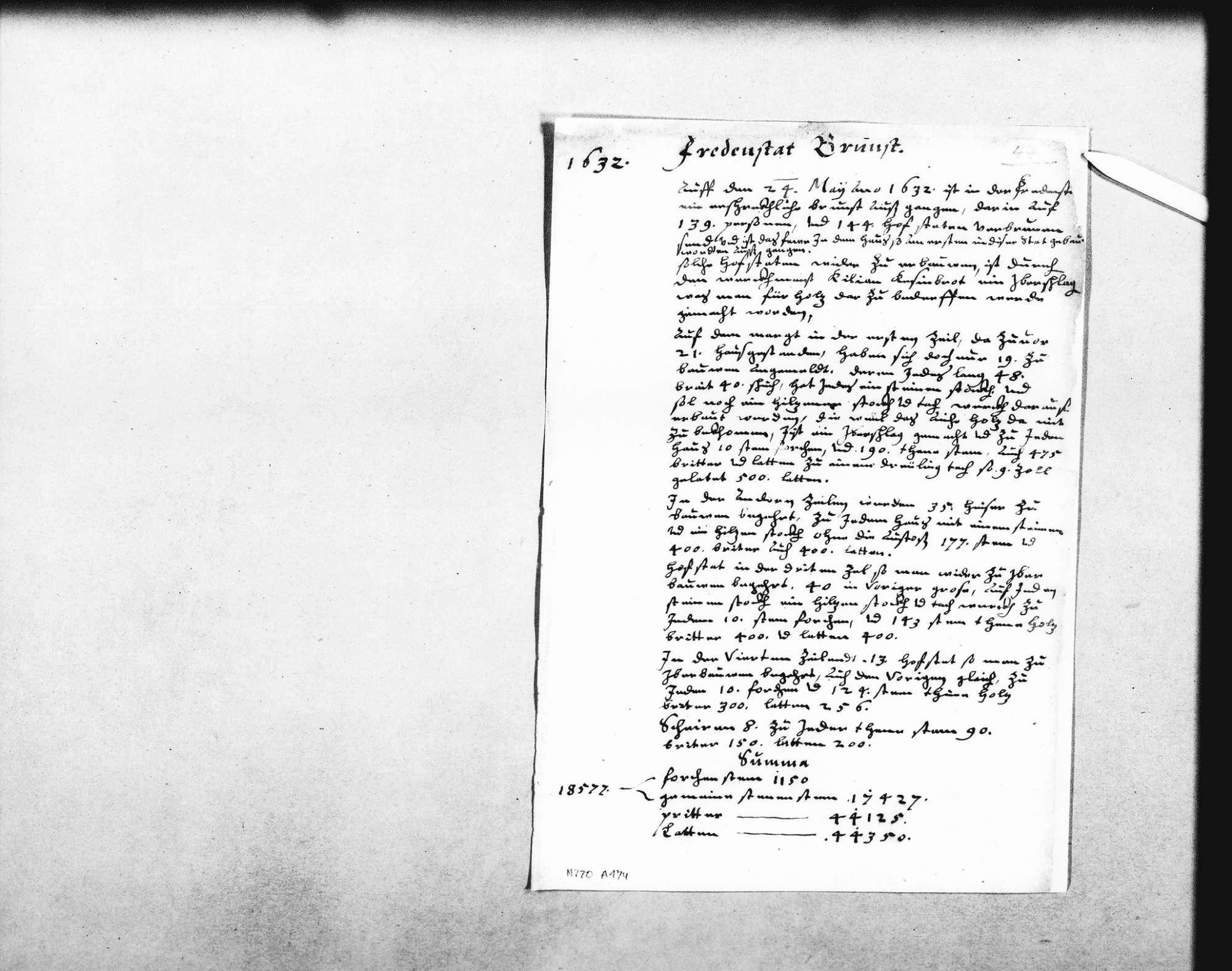 Aufzeichnung Schickhardts über den Brand am 24. Mai 1632, der 139 Personen und 144 Hofstätten kostete, mit Planung des Wiederaufbaus und Verzeichnis der erforderlichen Baumaterialien, Bild 1