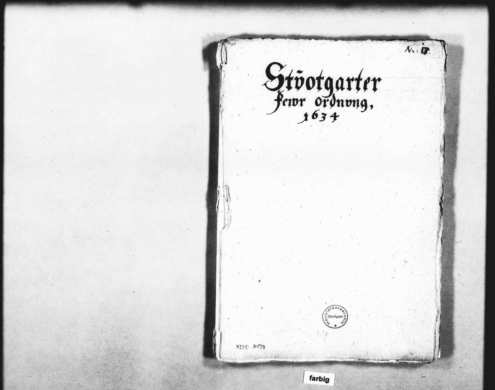 Entwurf der Feuerordnung für Stuttgart in 92 Artikeln, Bild 1