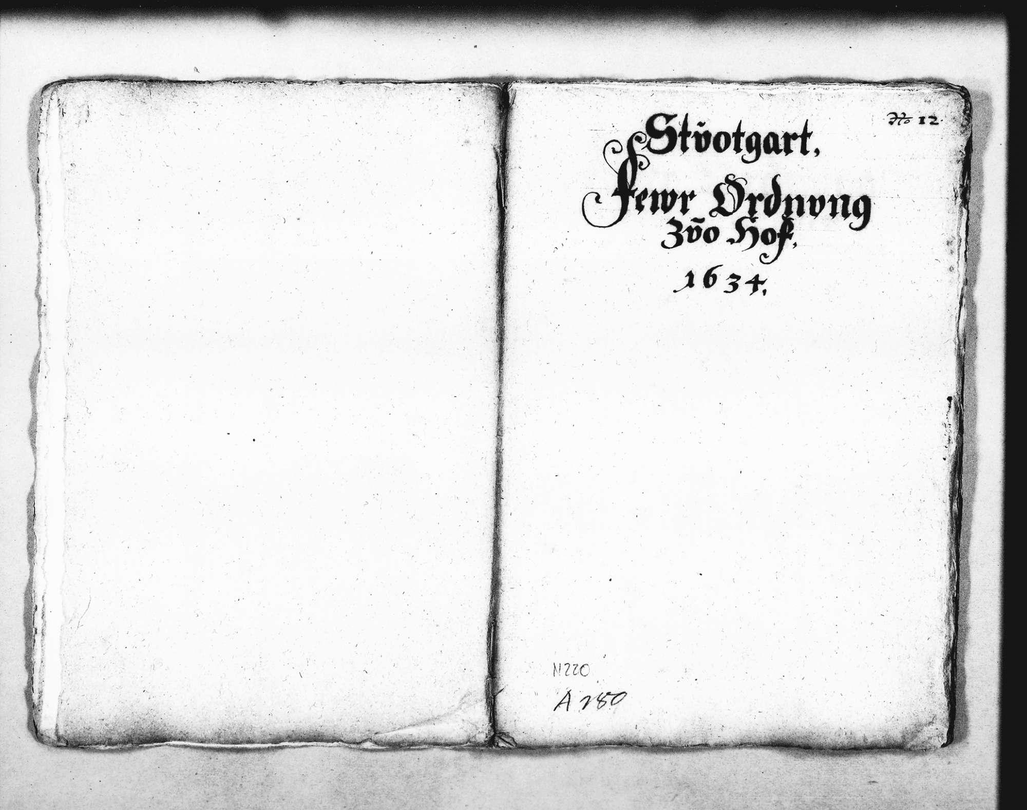 Entwurf der Feuerordnung für das Schloss in Stuttgart, Bild 1