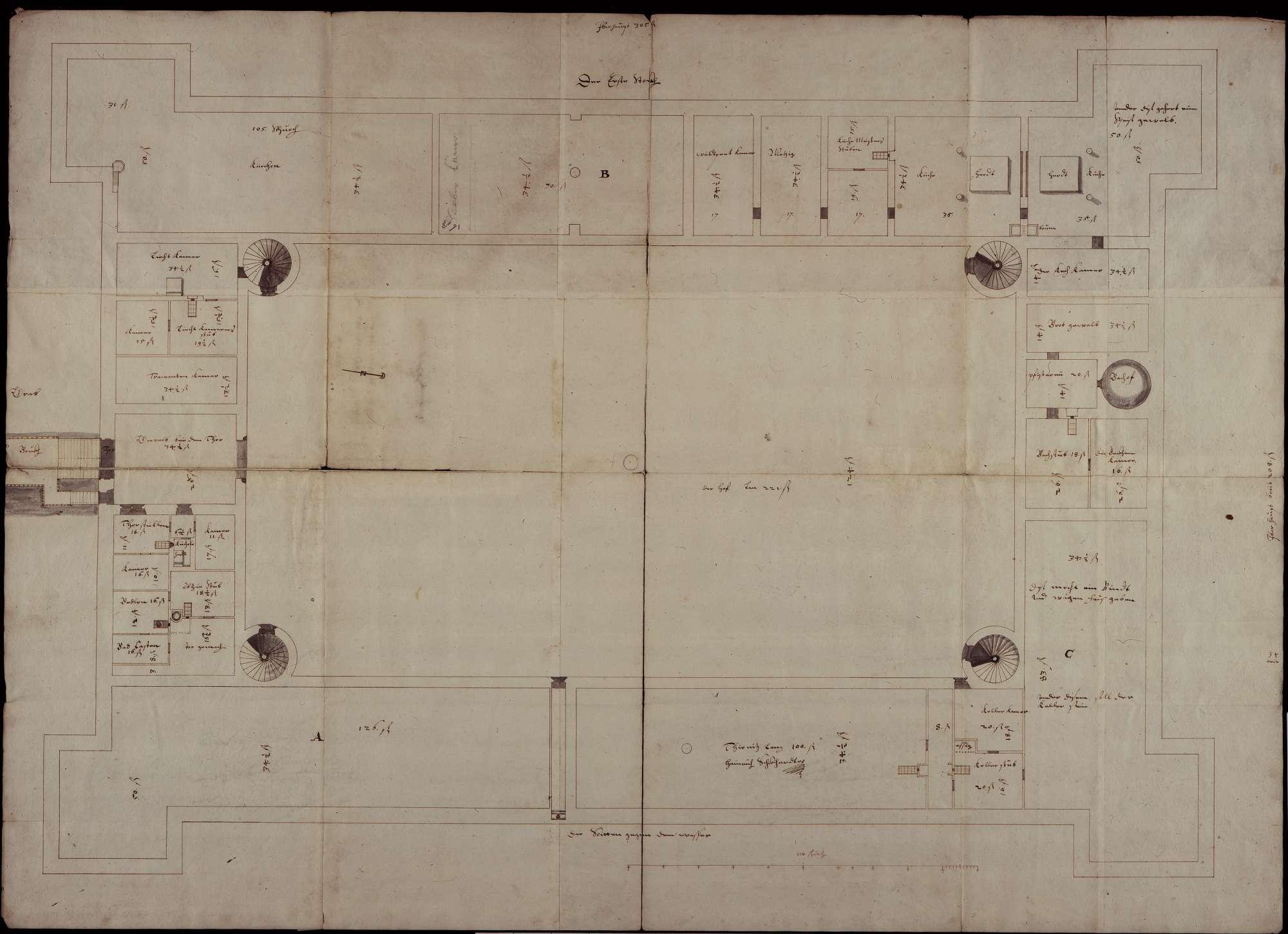 Grundriss des untersten Stockwerks (56 x 75 cm), mit eigenhändigem Vermerk Schickhardts über die Grundsteinlegung am 22. März 1606 durch Herzog Friedrich, Bild 1