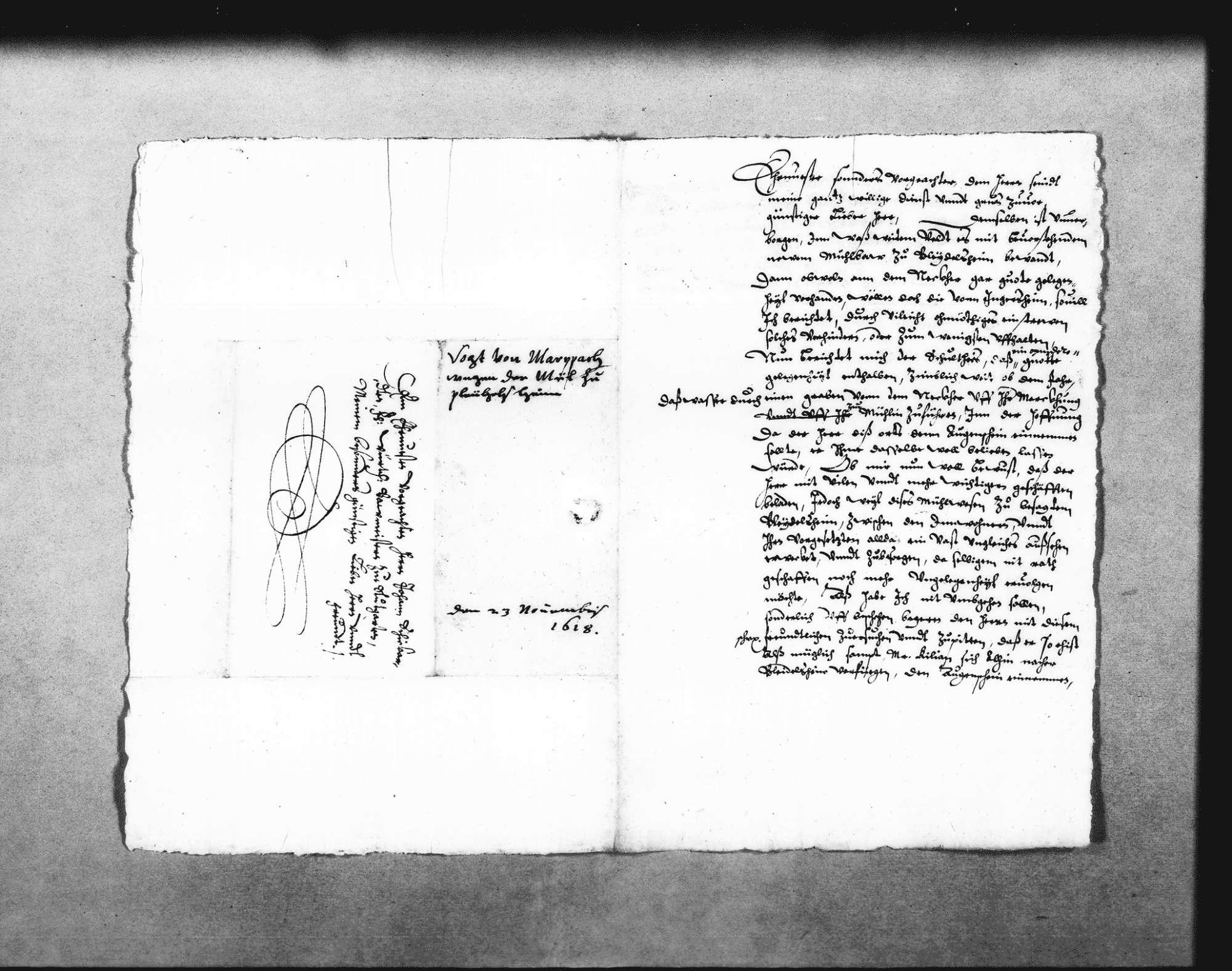 Zwei Schreiben von Josias Spoun, Untervogt in Marbach, zur Beschwerde der Ingersheimer wegen der geplanten Mühle, 21. November 1618, 20. Februar 1619 (2 Folio Doppelblatt); dazu Aufzeichnungen Schickhardts über die Rechtslage zwischen Großingersheim und Pleidelsheim (Folio Doppelblatt), mit Verweis auf den Abriss No. 1 und 2; Auflistung des Holzbedarfs, mit Notiz zur Bezahlung von Kilian Kesenbrot für seine Arbeiten an der Mühle, 3. August 1619 (Folio), Bild 1