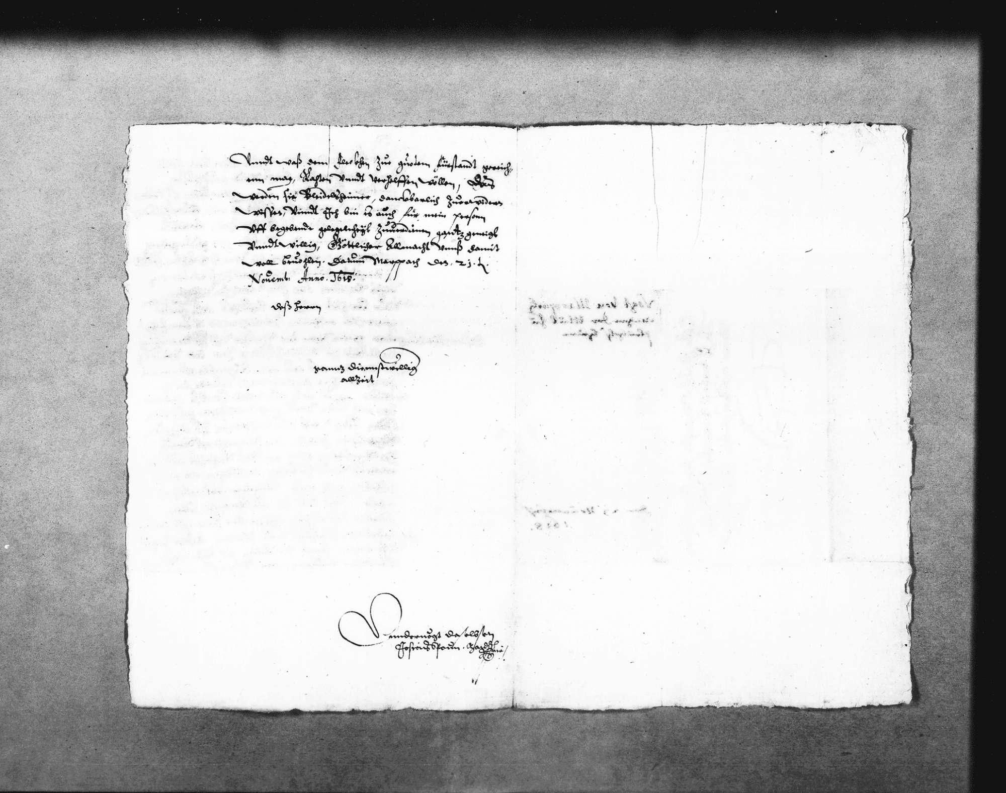 Zwei Schreiben von Josias Spoun, Untervogt in Marbach, zur Beschwerde der Ingersheimer wegen der geplanten Mühle, 21. November 1618, 20. Februar 1619 (2 Folio Doppelblatt); dazu Aufzeichnungen Schickhardts über die Rechtslage zwischen Großingersheim und Pleidelsheim (Folio Doppelblatt), mit Verweis auf den Abriss No. 1 und 2; Auflistung des Holzbedarfs, mit Notiz zur Bezahlung von Kilian Kesenbrot für seine Arbeiten an der Mühle, 3. August 1619 (Folio), Bild 2