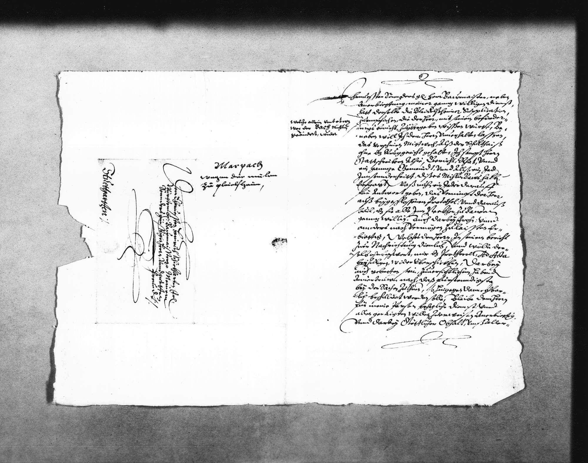 Zwei Schreiben von Josias Spoun, Untervogt in Marbach, zur Beschwerde der Ingersheimer wegen der geplanten Mühle, 21. November 1618, 20. Februar 1619 (2 Folio Doppelblatt); dazu Aufzeichnungen Schickhardts über die Rechtslage zwischen Großingersheim und Pleidelsheim (Folio Doppelblatt), mit Verweis auf den Abriss No. 1 und 2; Auflistung des Holzbedarfs, mit Notiz zur Bezahlung von Kilian Kesenbrot für seine Arbeiten an der Mühle, 3. August 1619 (Folio), Bild 3