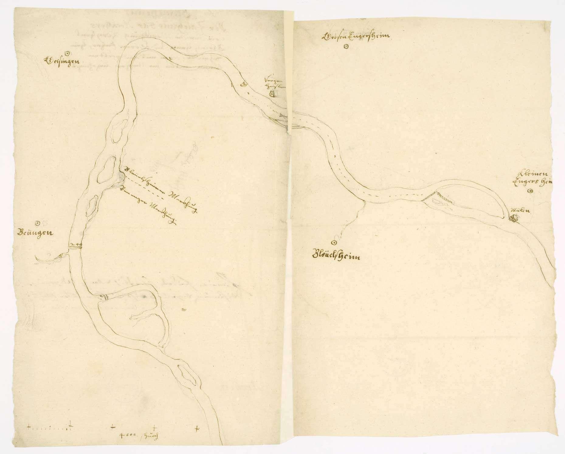 """Lageplan des Neckar zwischen Großingersheim und Pleidelsheim (""""Verzeichnis, wie der Neckar die Markung zwischen Großingersheim und Pleidelsheim scheidet""""), Bild 2"""