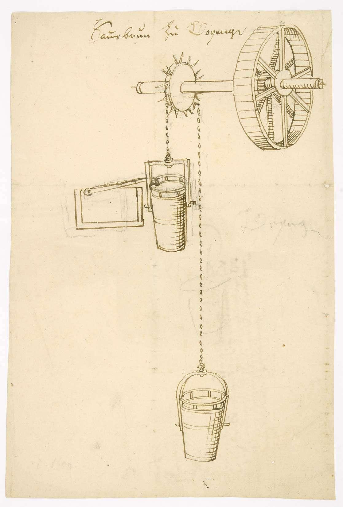 Schöpfbrunnen im Sauerbrunnenbad, zwei Eimer und das Schöpfrad (Tinte, Folio), Bild 2