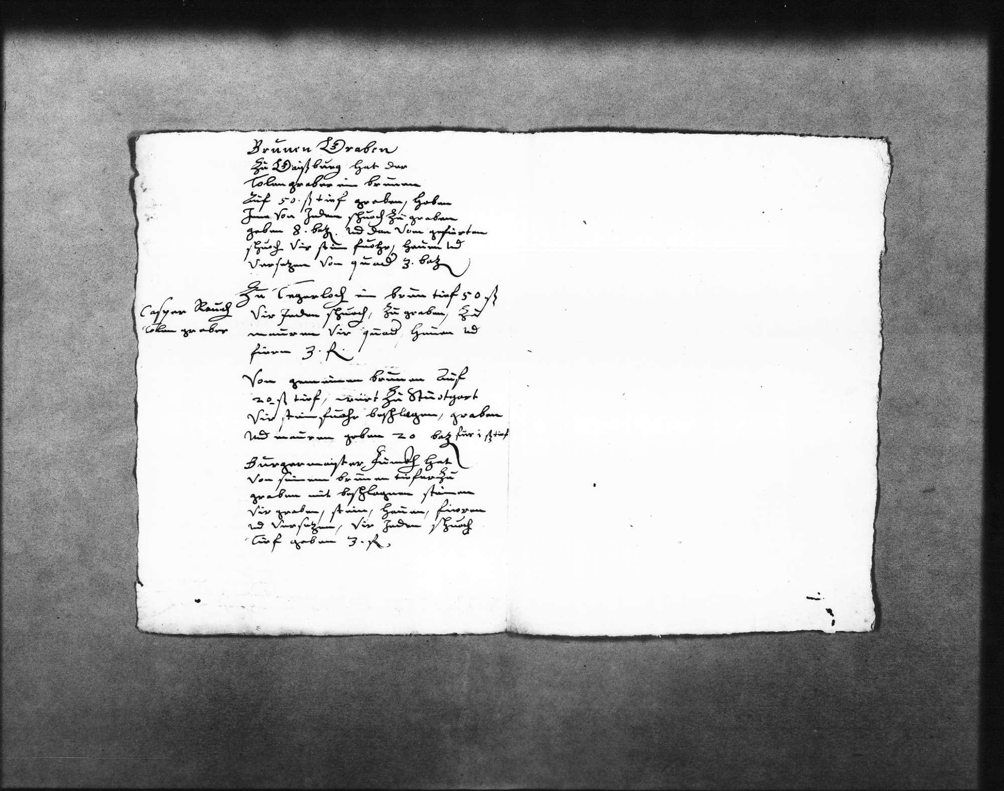 """Planungen mit Maßangaben und Lohnkosten für Arbeiten an einer Pumpanlage (""""Wasserkunst"""") in Dorna (?) (Dornach?), für das Graben von Brunnen in Stuttgart, Gaisburg und Degerloch u. a. durch den Dolengräber Caspar Rauch, welcher dafür Bergknappen anstellte, Angaben über deren Löhne, auch für den 1614 im Hof von Zaiser (""""Ceser"""") in Stuttgart gegrabenen Brunnen und den für Bürgermeister Finck (Folio Doppelblatt), Bild 2"""