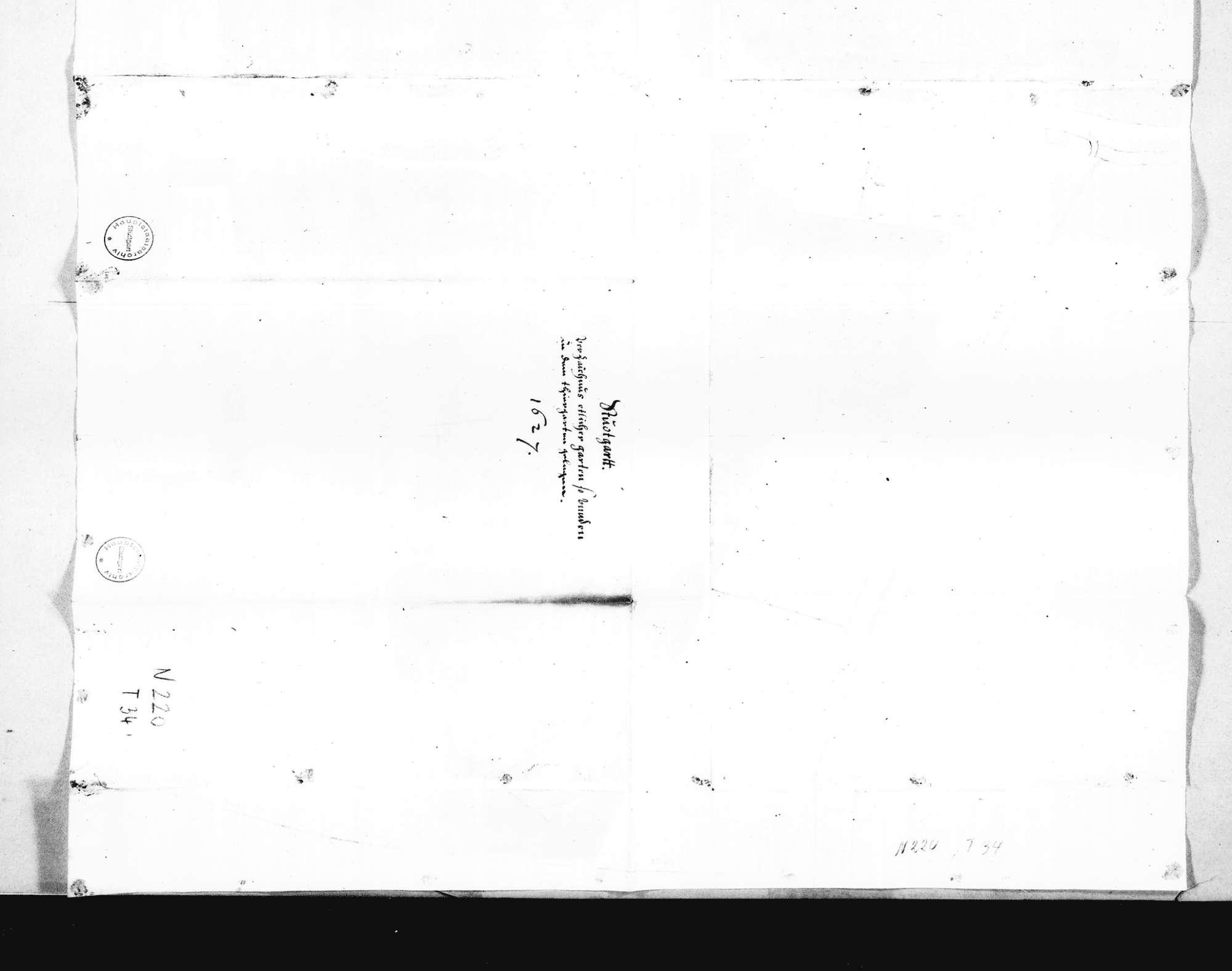 """Lageplan der Gärten bei dem Fürstlichen Tiergarten (56 x 50,5 cm), grün kolorierte Flächen: Fürstlicher Gras- und Baumgarten, """"F. Gn. geliebter gemahlen Garten"""", """"F. Gn. Bereitäcker"""" u. a. anschließend an den Lustgarten und das Pomeranzenhaus, Bild 2"""