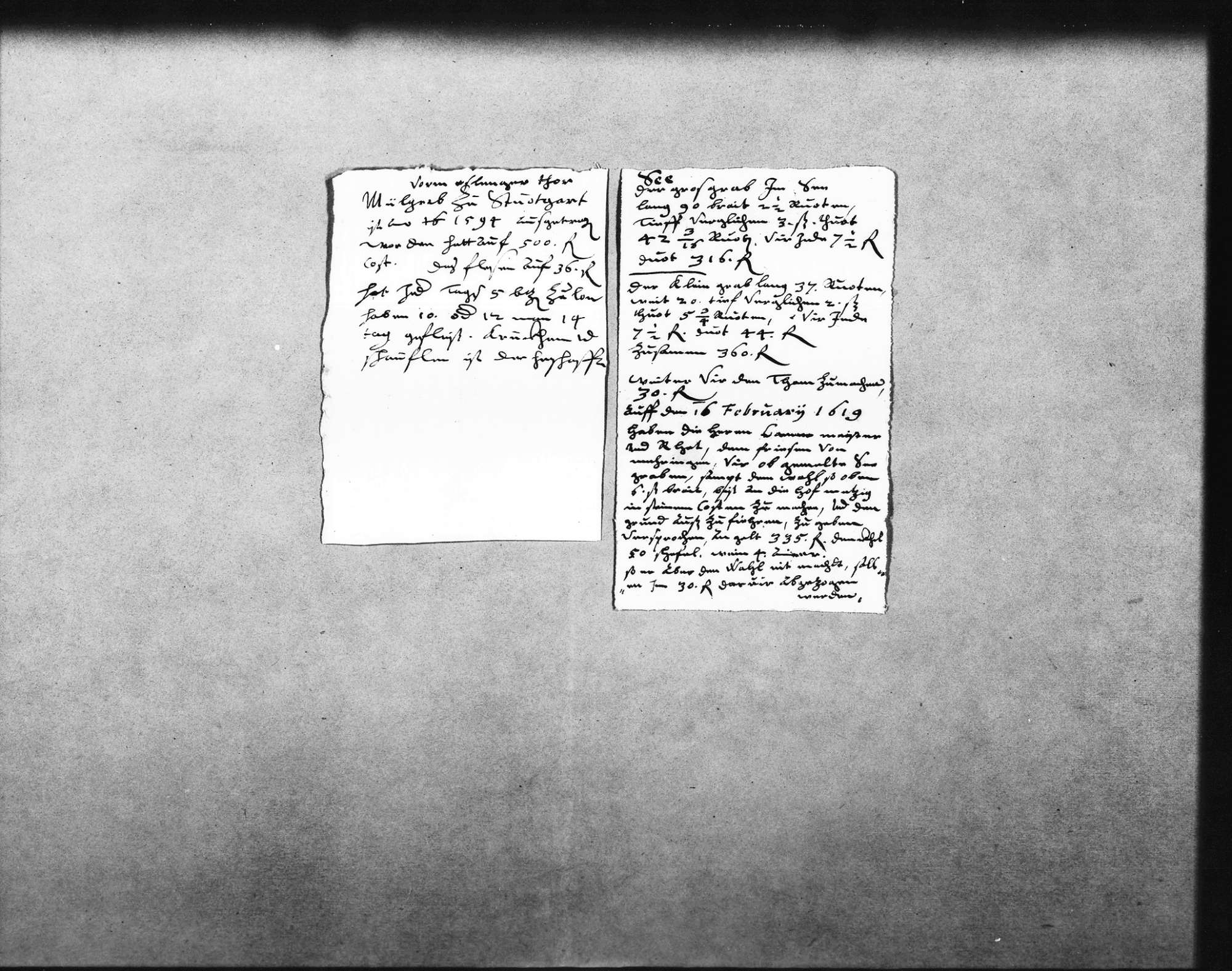 Abrechnung über die Ausführung des unteren Sees mit namentlicher Auflistung der Handwerker und Fuhrleute und Bericht über den Klotzgraben im See, 1619 (Folio Doppelblatt, Folio), beiliegend Notizen über kleinen und großen Graben und den Damm (Quart) und über das Aufgraben des Mühlgrabens vor dem Esslinger Tor im Jahr 1594 (Quart), Bild 3