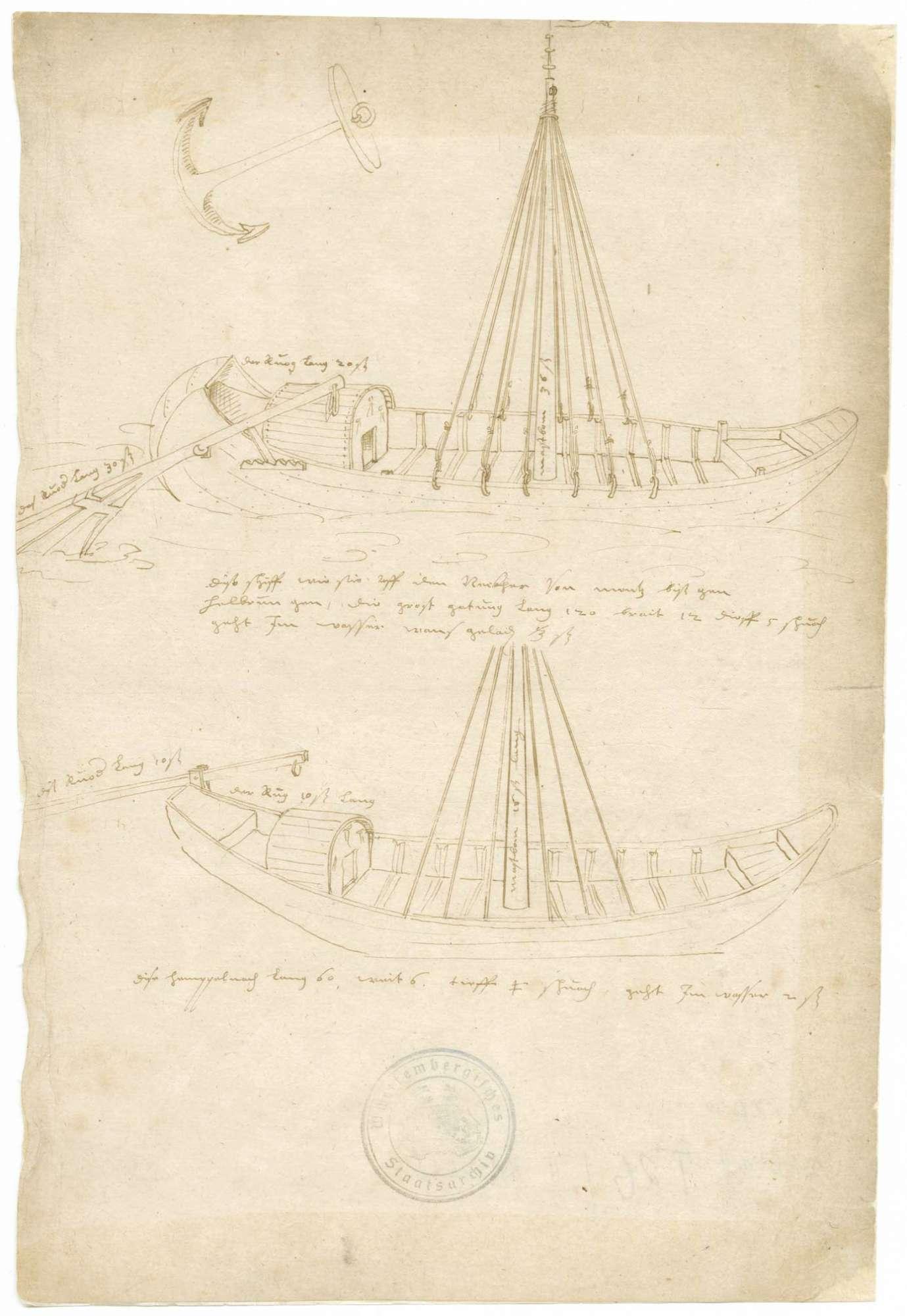 """Zeichnung zweier Neckarschiffe mit Mastbaum, Steuer und Deckaufbauten (31 x 20 cm), mit Erläuterungen: das große Schiff soll von Mainz bis Heilbronn gehen, es ist 120 Schuh lang, 12 Schuh breit und 5 Schuh tief, das kleinere Schiff, bezeichnet als """"Himpelnachen"""" ist 60 Schuh lang und 6 Schuh breit, Bild 1"""