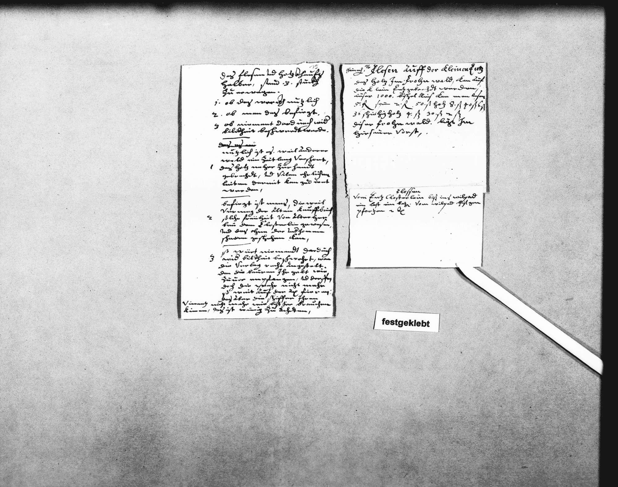 Notizen Schickhardts über das Flößen von Holz auf der Enz, Holz aus Schöllkopf und dem Steinwald zu flößen auf der Lauter unter Freudenstadt bis zum Neckar bei Nürtingen; Flößen auf der kleinen Enz, bei Enzklösterle und bei Enzweihingen; mit Bemerkungen über die Vorteile des Flößens gegenüber den Fuhren (2 Folio, 3 Quart, 2 Oktav, teilweise zusammengeklebt), Bild 2
