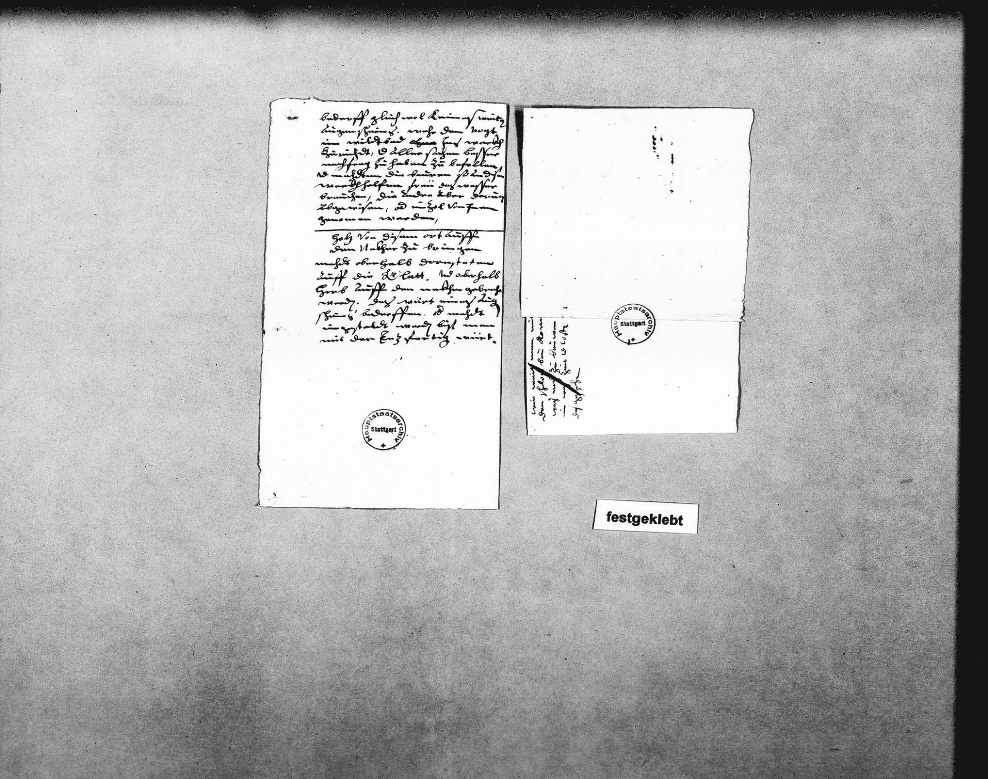 Notizen Schickhardts über das Flößen von Holz auf der Enz, Holz aus Schöllkopf und dem Steinwald zu flößen auf der Lauter unter Freudenstadt bis zum Neckar bei Nürtingen; Flößen auf der kleinen Enz, bei Enzklösterle und bei Enzweihingen; mit Bemerkungen über die Vorteile des Flößens gegenüber den Fuhren (2 Folio, 3 Quart, 2 Oktav, teilweise zusammengeklebt), Bild 3