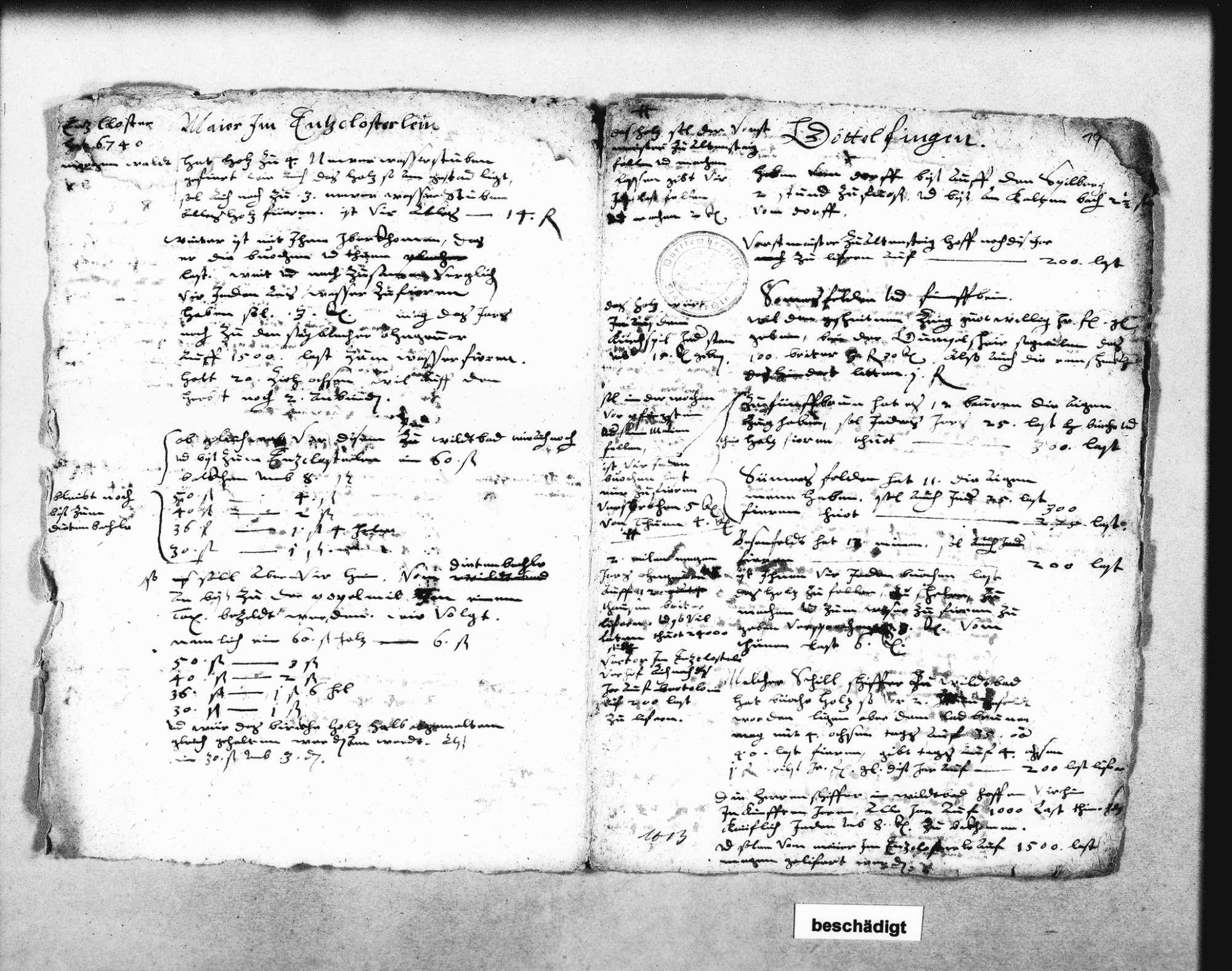 Flößen von Göttelfingen, Simmersfeld, Fünfbronn, Enzklösterle und Poppelmühel; Berechnungen über Floßlasten (2 Folio Doppelblatt), Bild 1