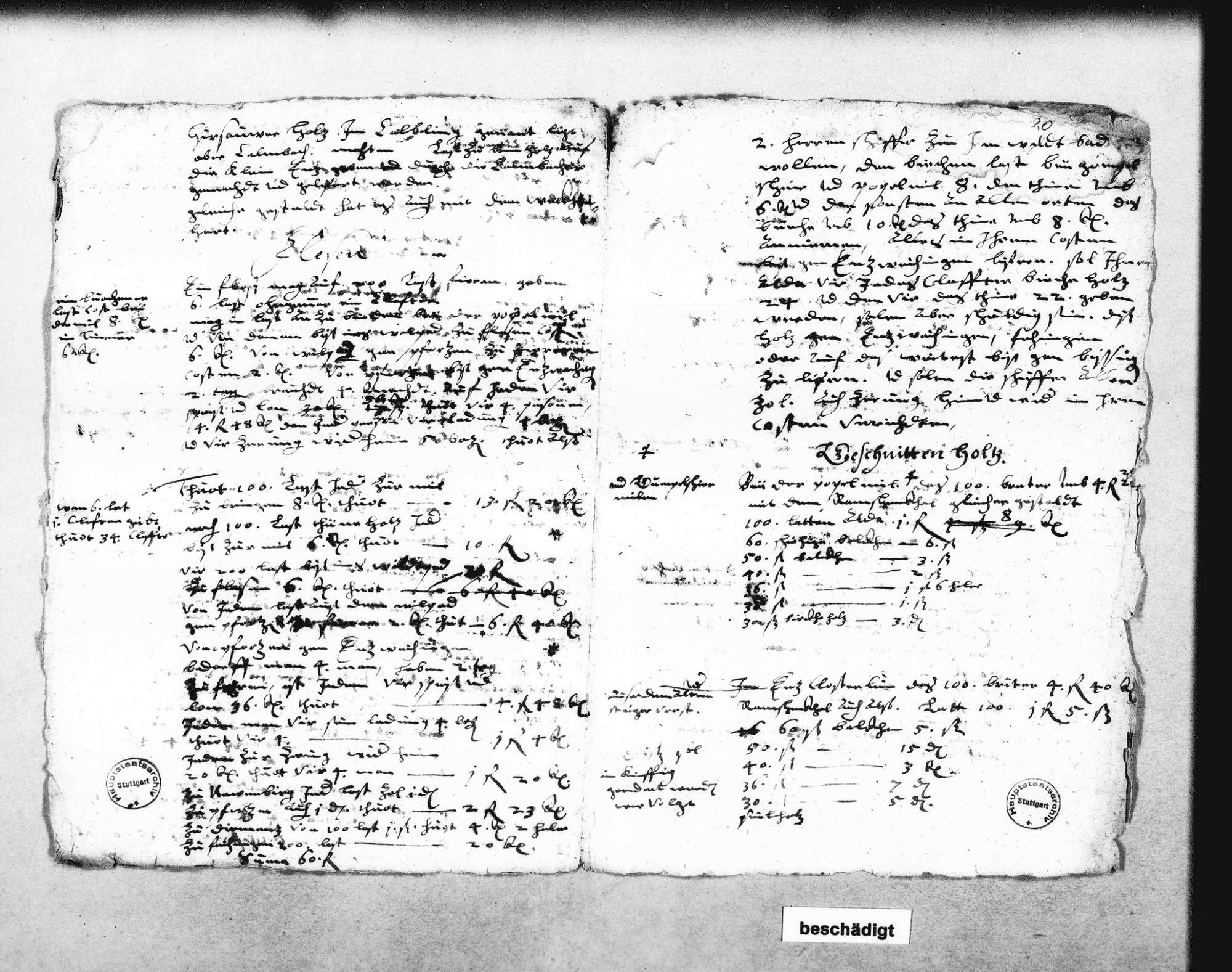 Flößen von Göttelfingen, Simmersfeld, Fünfbronn, Enzklösterle und Poppelmühel; Berechnungen über Floßlasten (2 Folio Doppelblatt), Bild 2