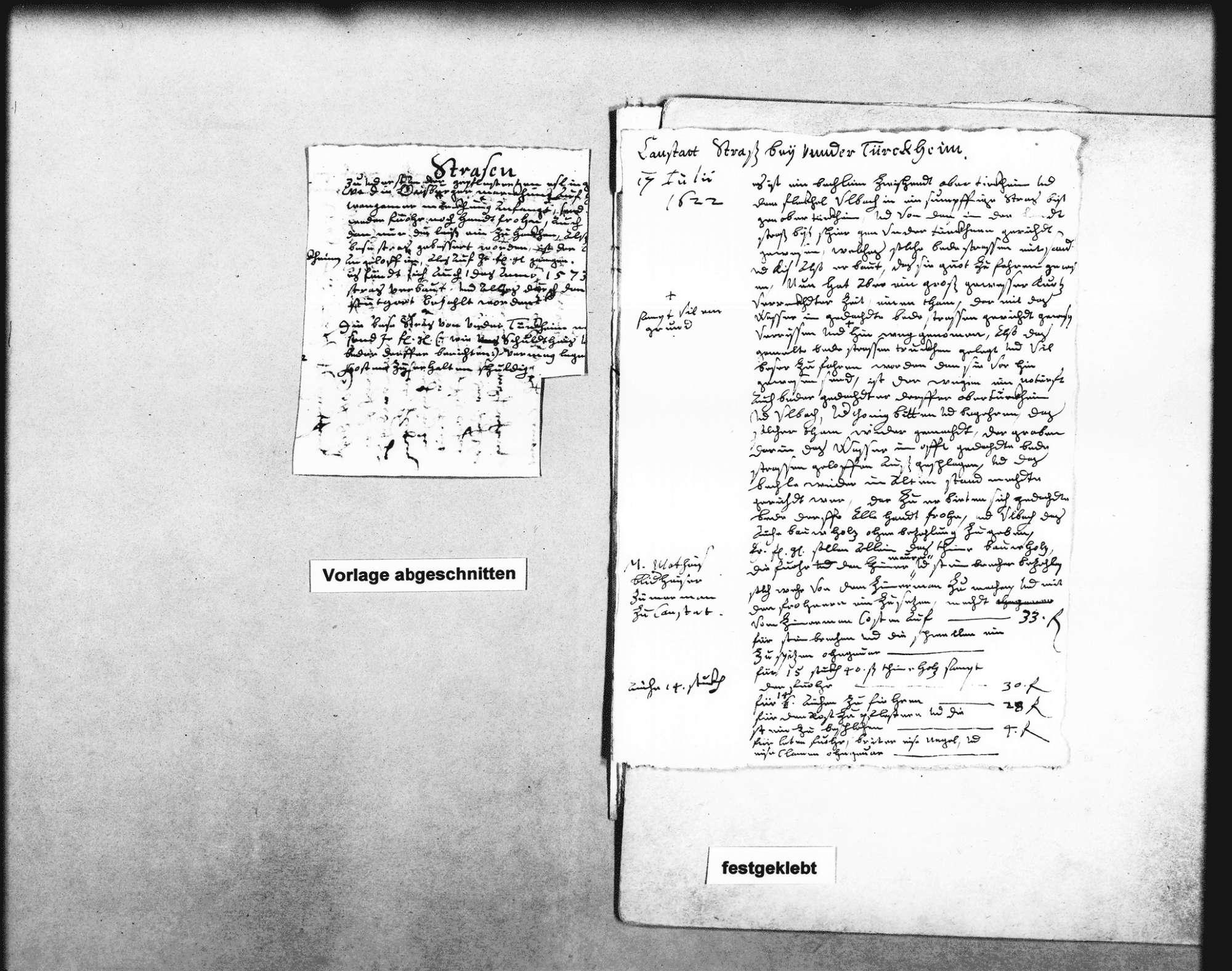 Bericht über die Cannstatter Straße bei Untertürkheim, 17. Juli 1622 und über die Fellbacher Straße, 1626 (2 Folio, 2 Oktav), Bild 1