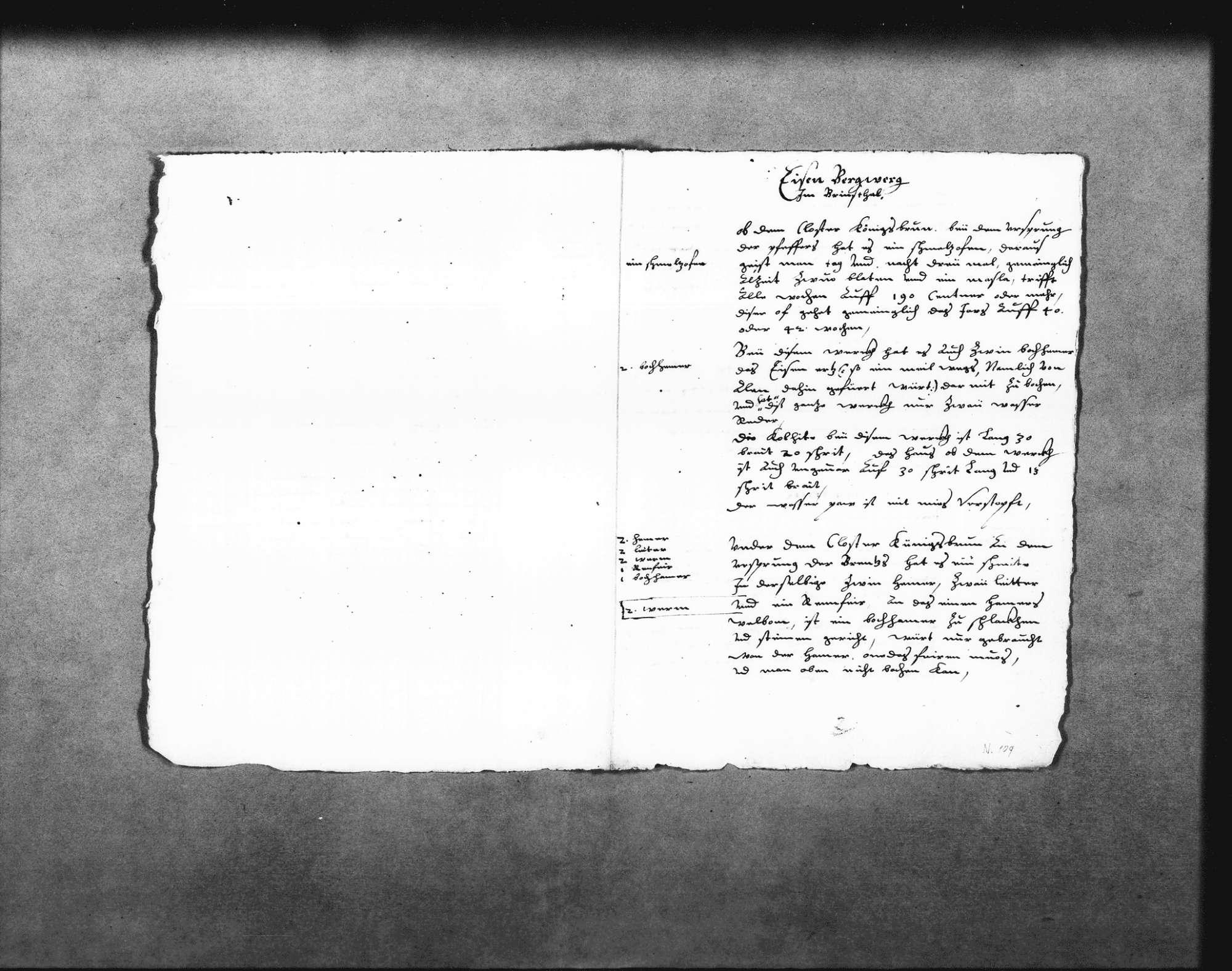 Aufzeichnungen über die Eisenwerke im Brenztal, beim Kloster Königsbronn, in Itzelberg, Heidenheim und Mergelstetten (Folio Doppelblatt), Bild 1