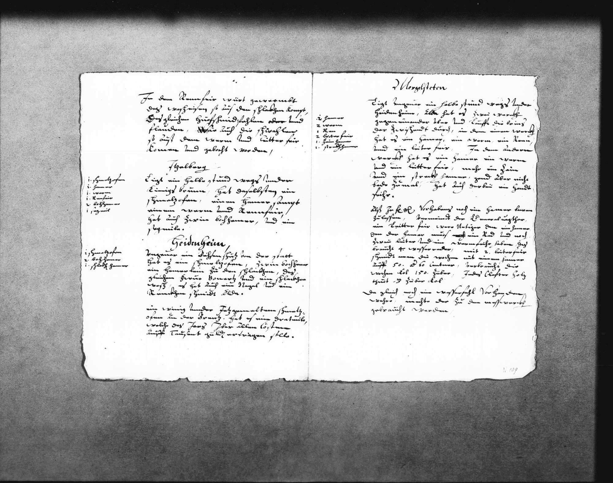 Aufzeichnungen über die Eisenwerke im Brenztal, beim Kloster Königsbronn, in Itzelberg, Heidenheim und Mergelstetten (Folio Doppelblatt), Bild 2