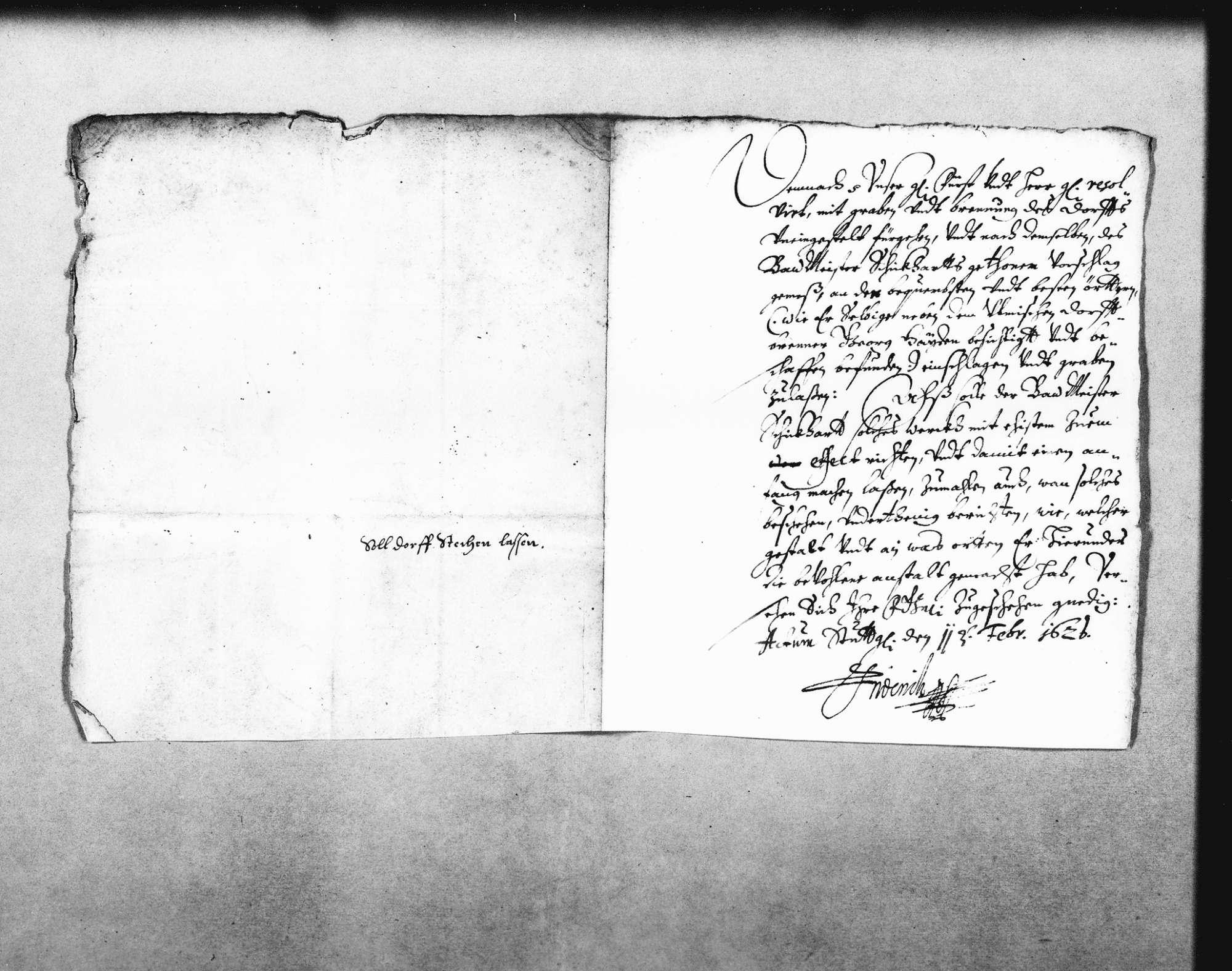 Reskript Herzog (Johann) Friedrichs an Schickhardt für Nachforschungen zu Torflagerstätten, mit eigenhändiger Unterschrift des Herzogs (Folio Doppelblatt), Bild 1