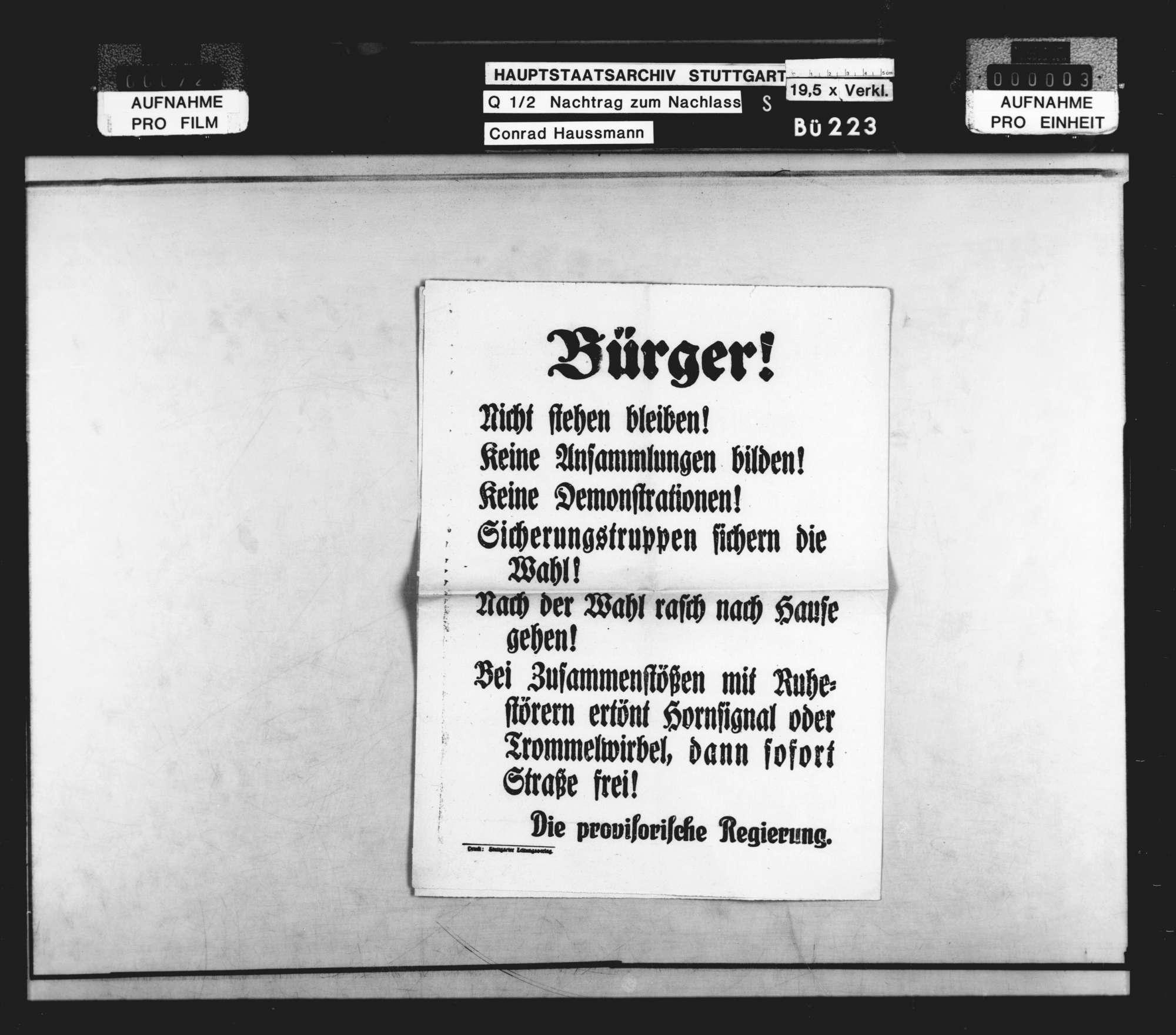 Wahlen (hauptsächlich Flugblätter zur Wahl der Nationalversammlung und Zeitungsausschnitte), Bild 2