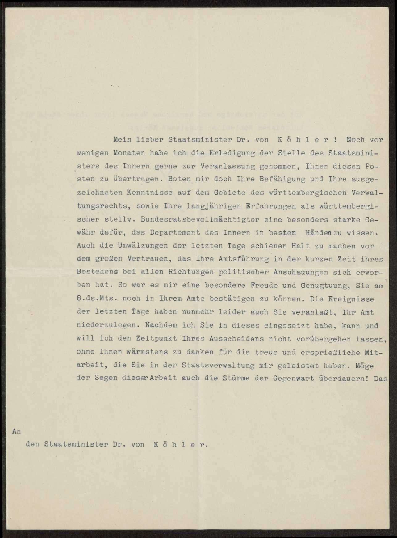 Briefwechsel mit König Wilhelm II., Herzog Albrecht und Herzog Philipp von Württemberg, Bild 1