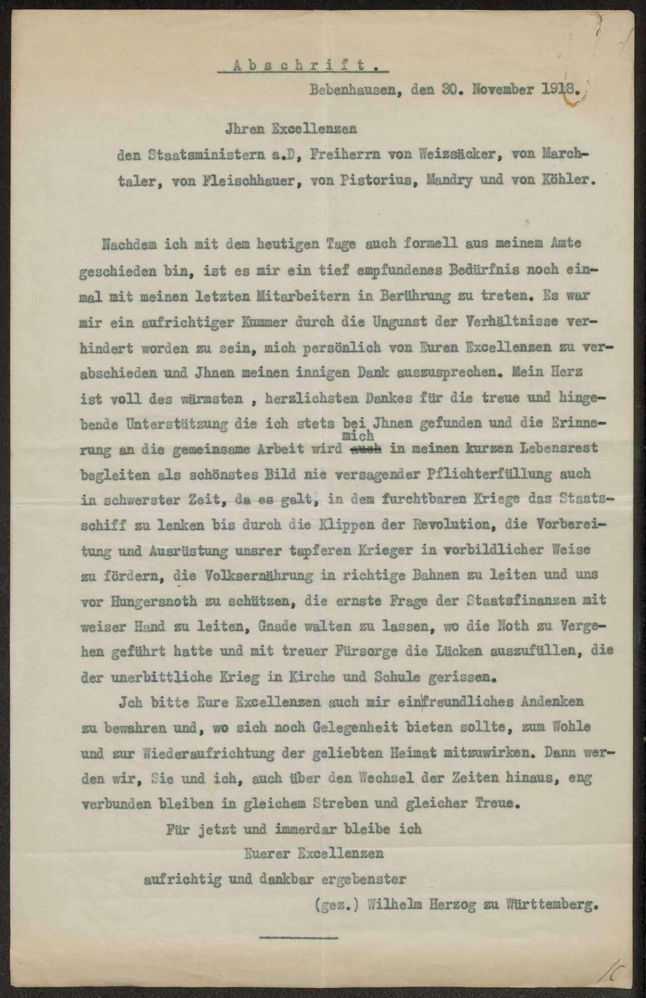 Briefwechsel mit König Wilhelm II., Herzog Albrecht und Herzog Philipp von Württemberg, Bild 3