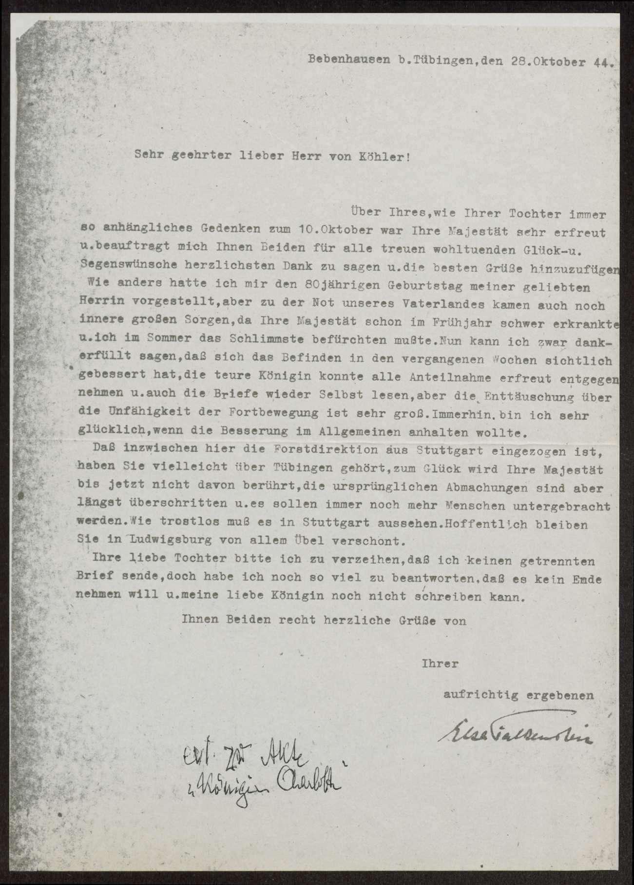 Briefwechsel mit Königin Charlotte von Württemberg, Bild 1