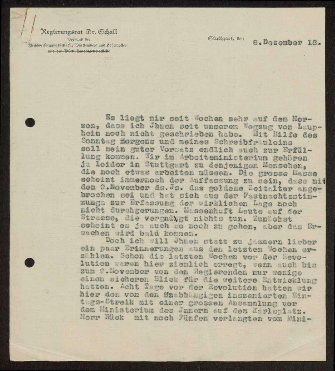 Bericht von Schall über die Vorgänge bei der Revolution 1918 und die wirtschaftliche Lage Württembergs danach, Bild 2
