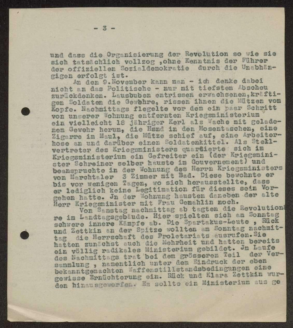 Bericht von Schall über die Vorgänge bei der Revolution 1918 und die wirtschaftliche Lage Württembergs danach, Bild 3