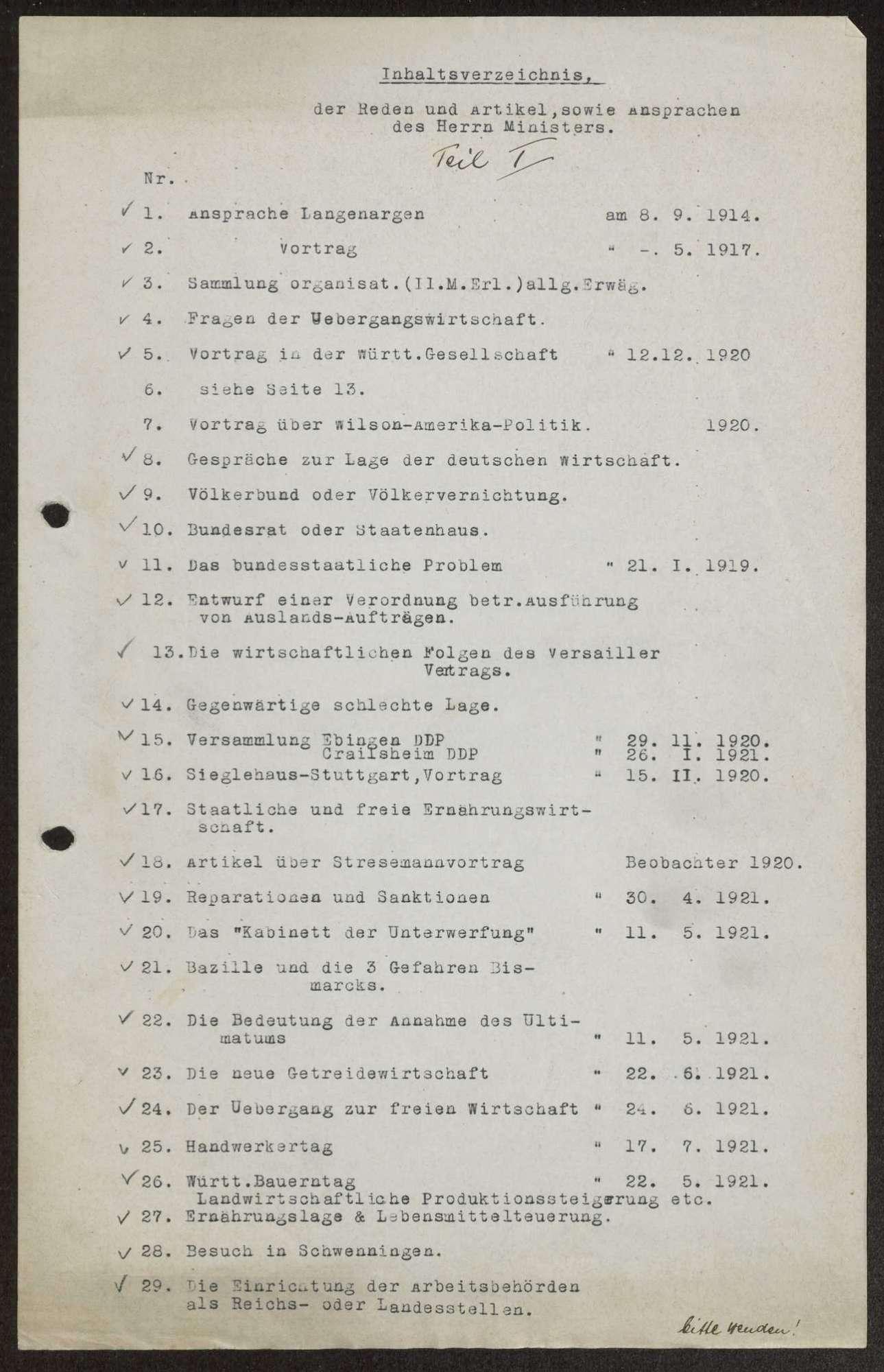 Verzeichnis der Reden, Aufsätze, Zeitungsartikel von Wilhelm Schall, Bild 1