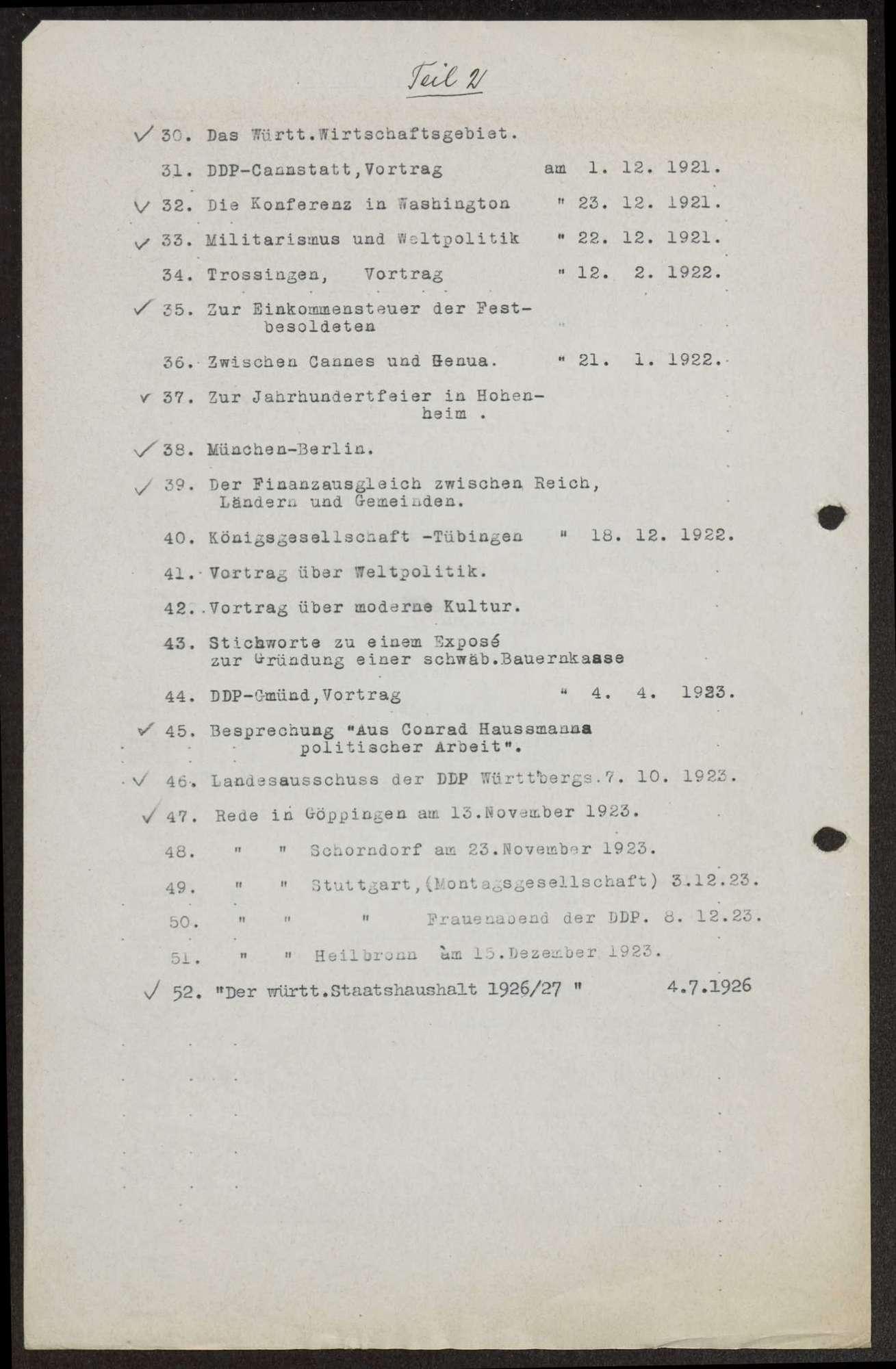 Verzeichnis der Reden, Aufsätze, Zeitungsartikel von Wilhelm Schall, Bild 2