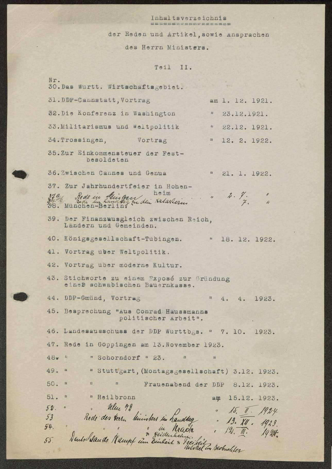 Verzeichnis der Reden, Aufsätze, Zeitungsartikel von Wilhelm Schall, Bild 3