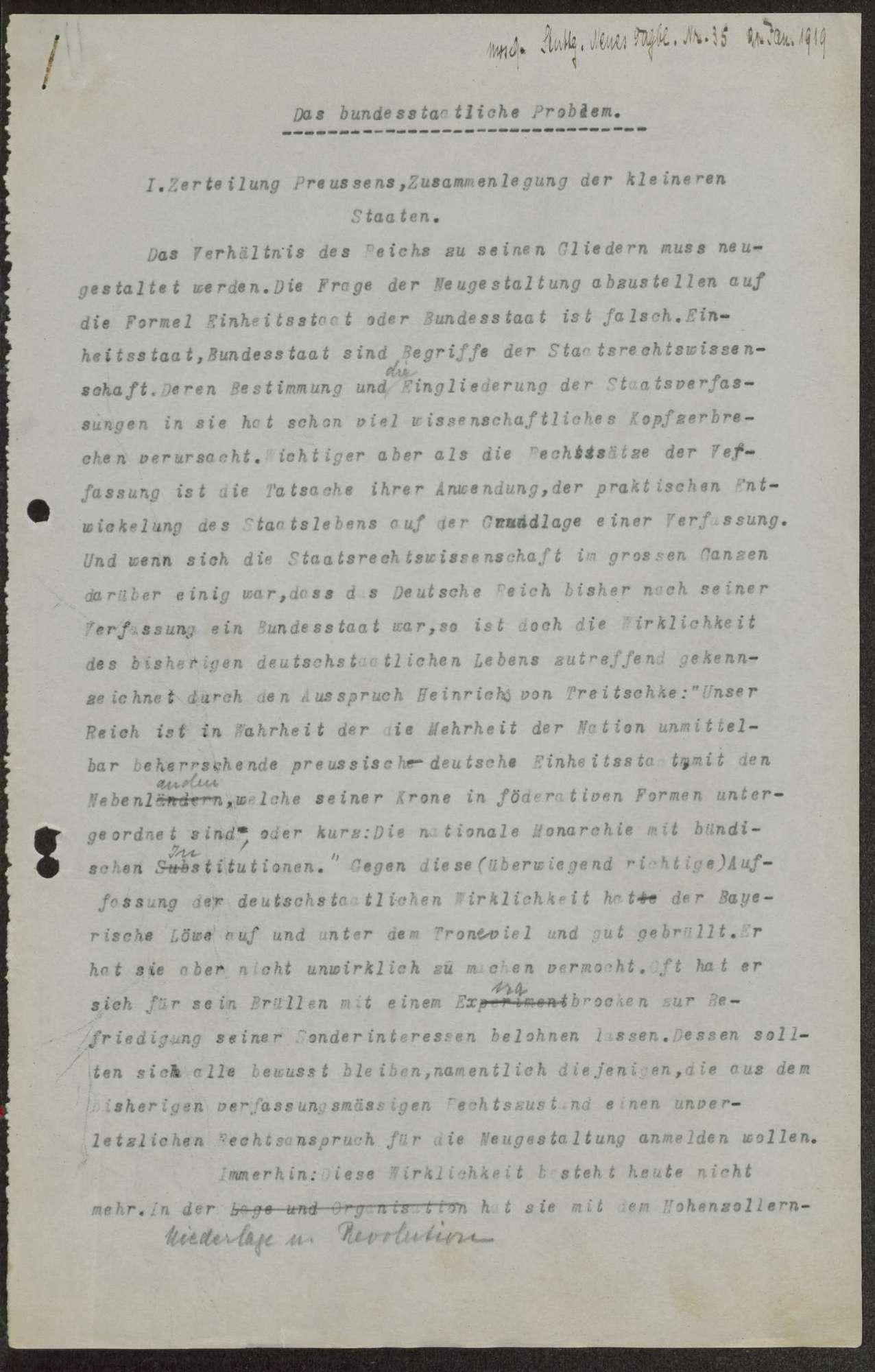 """""""Das bundesstaatliche Problem"""", Aufsatz, erschienen im Stuttgarter Neuen Tagblatt"""" Nr. 35, (Konzept und Reinschrift), Bild 1"""
