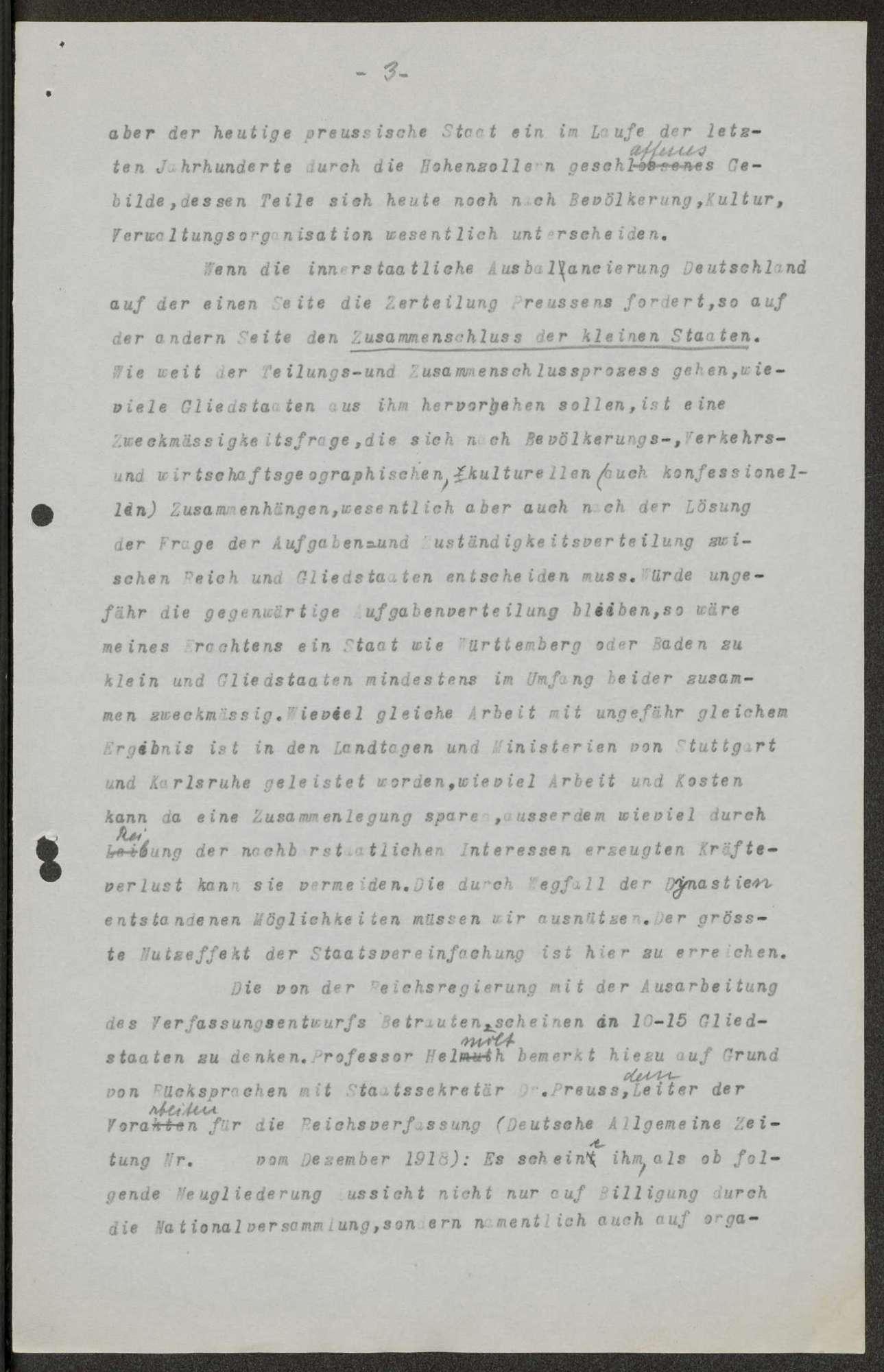"""""""Das bundesstaatliche Problem"""", Aufsatz, erschienen im Stuttgarter Neuen Tagblatt"""" Nr. 35, (Konzept und Reinschrift), Bild 3"""