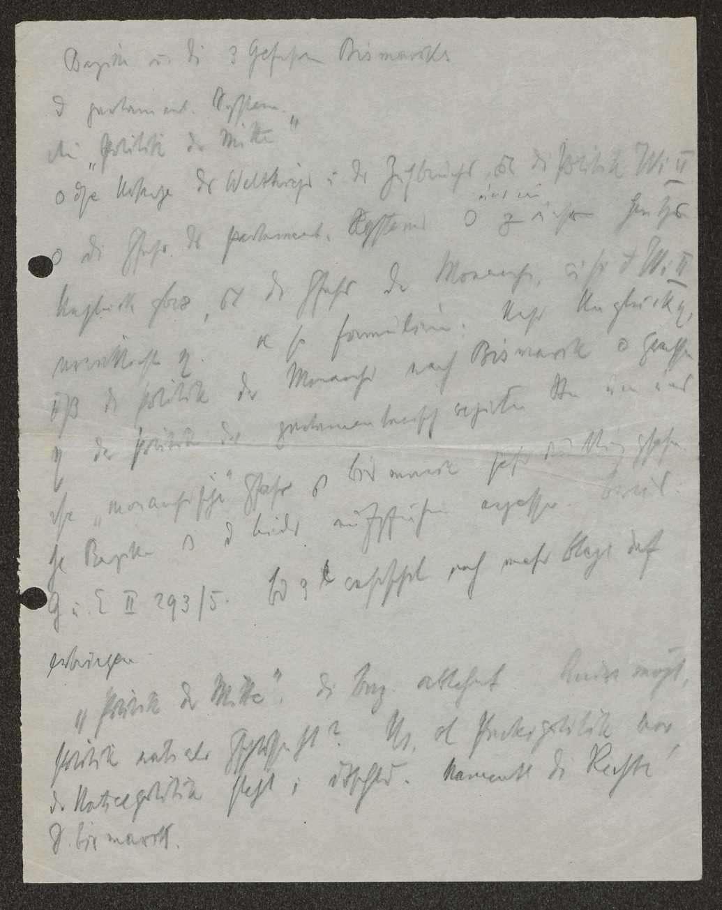 """""""Bazille und die 3 Gefahren Bismarcks"""", Notizen Schalls zu einem Vortrag über die """"Politik der Mitte"""", Bild 1"""