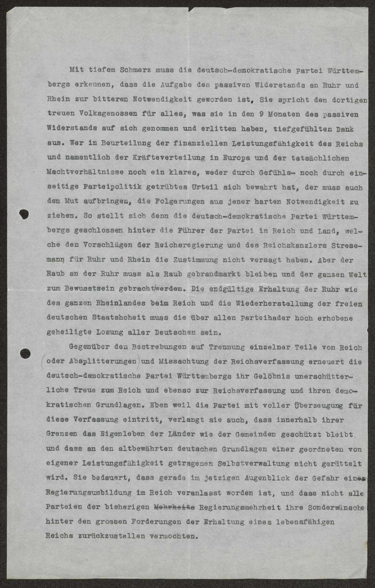 Stellungnahme der DDP zur Aufgabe des passiven Widerstands an Ruhr und Rhein, gezeichnet von Staatspräsident Hieber (mit handschriftlichen Korrekturen Schalls),, Bild 1