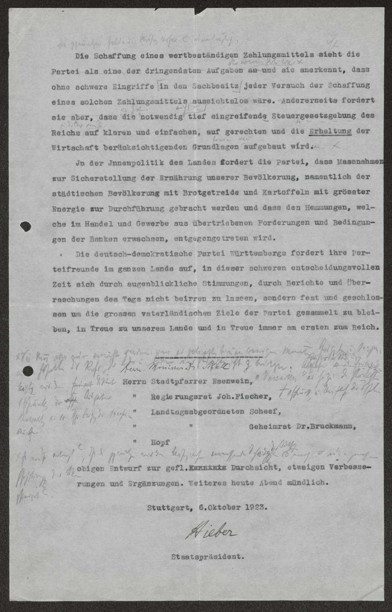 Stellungnahme der DDP zur Aufgabe des passiven Widerstands an Ruhr und Rhein, gezeichnet von Staatspräsident Hieber (mit handschriftlichen Korrekturen Schalls),, Bild 2