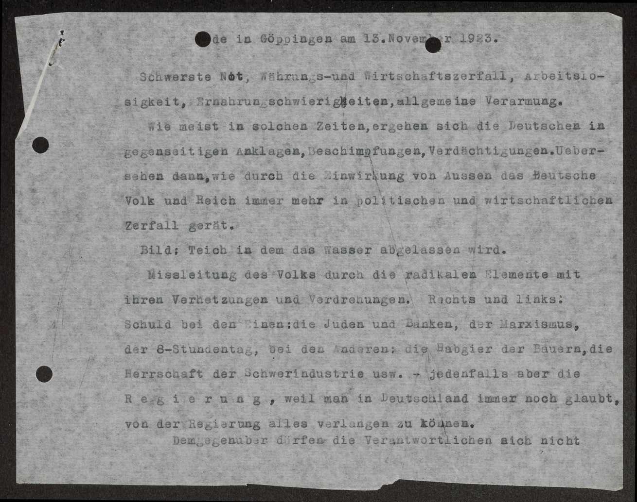Rede Schalls in Göppingen über die deutsche Innenpolitik (Hitlerputsch), Bild 1