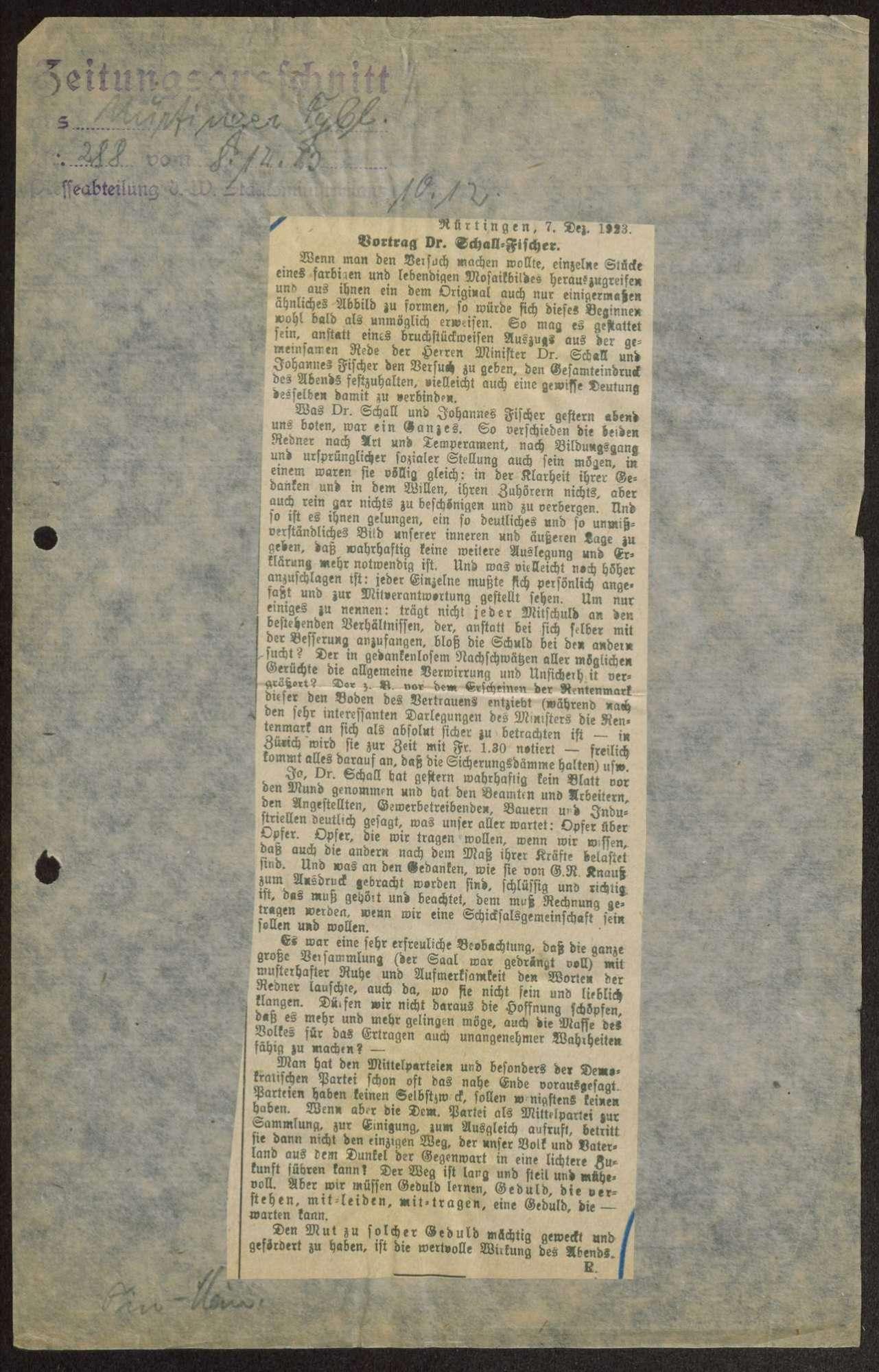 Vortrag Dr. Schall - Johannes Fischer bei einer DDP-Versammlung in Nürtingen (Zeitungsbericht im Nürtinger Tagblatt vom 8.12.1923), Bild 1