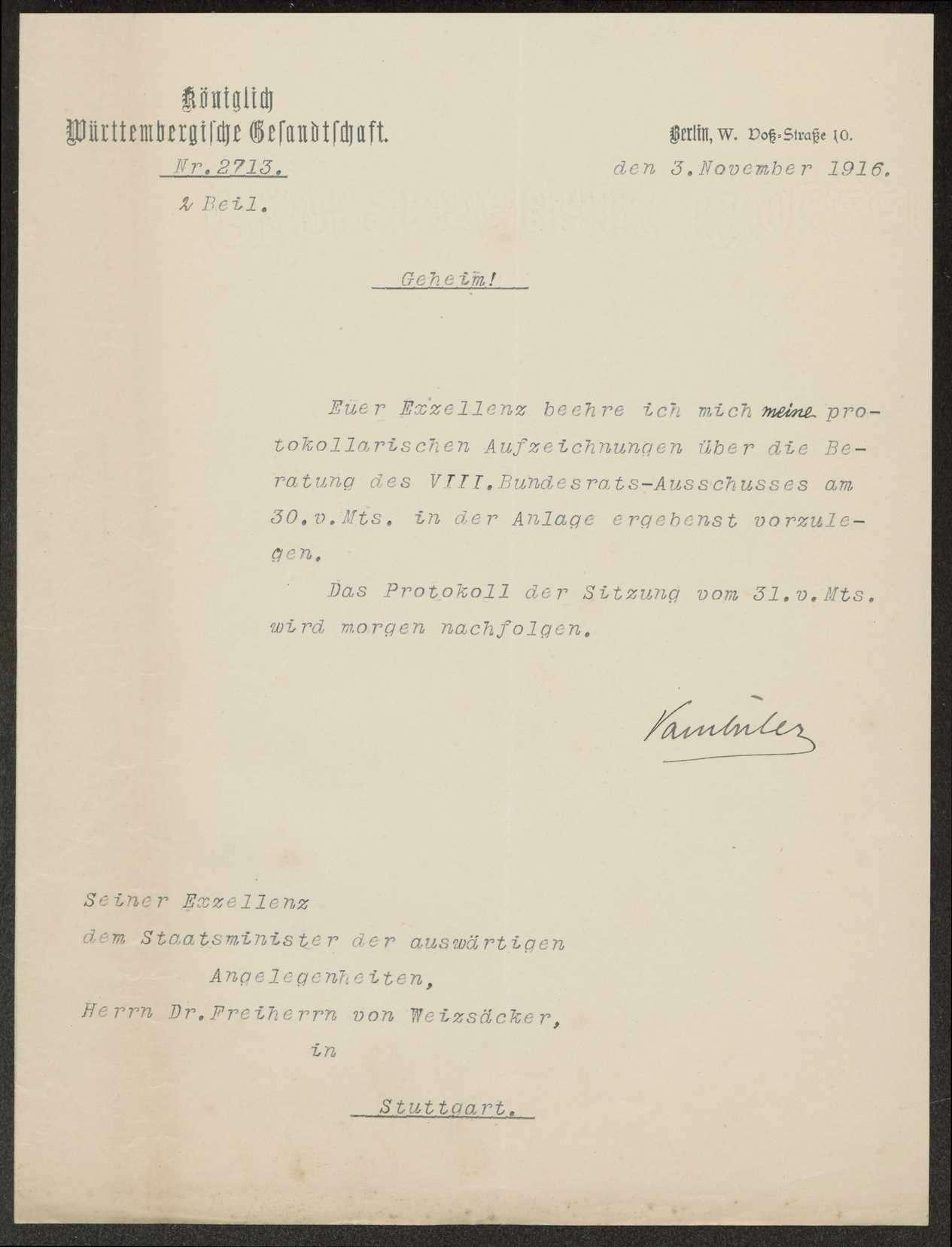 Sitzung des VIII. Bundesratsausschusses für auswärtige Angelegenheiten am 27. November 1909, 21. November 1909, 15. März 1912, 30. November 1912, 24. November 1913, 30. November 1915, 15. März 1916, 8./9. August 1916 und 30./31 Oktober 1916. Protokolle, Notizen, Berichte, Bild 2