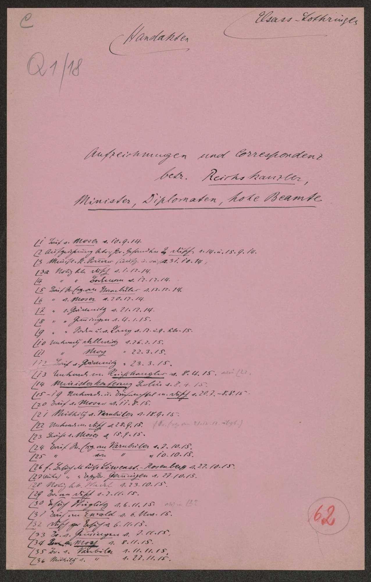 Die elsaß-lothringische Frage. Aufzeichnungen und Korrespondenz mit Reichskanzler, Ministern, Diplomaten und hohen Beamten (mit Inhaltsübersicht), Bild 1