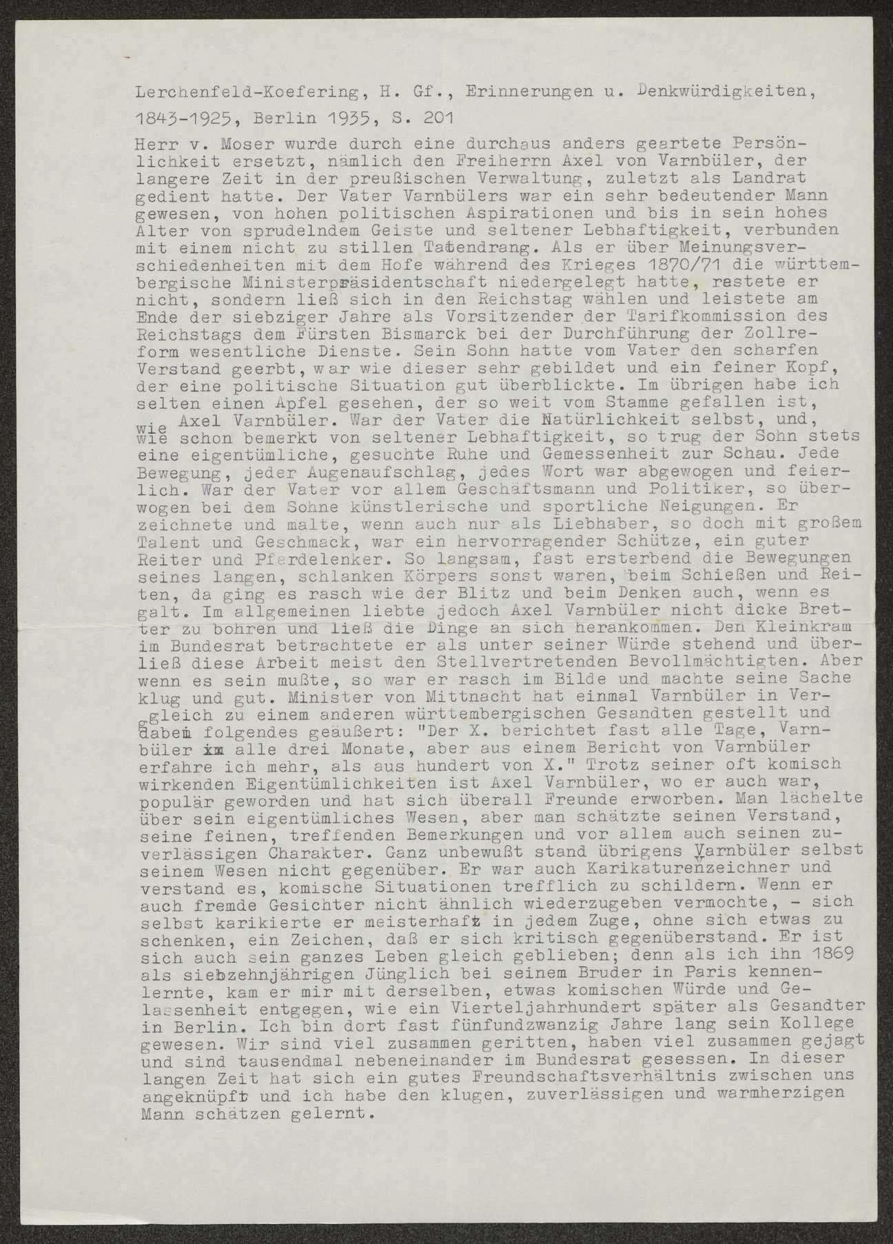 Berichte des württembergischen Gesandten in Berlin v. Varnbüler an Weizsäcker, Bild 2