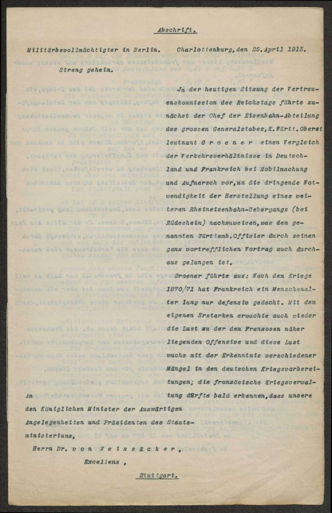 Berichte des württembergischen Militärbevollmächtigten in Berlin (v. Dorrer, v. Graevenitz) an Weizsäcker, Bild 2