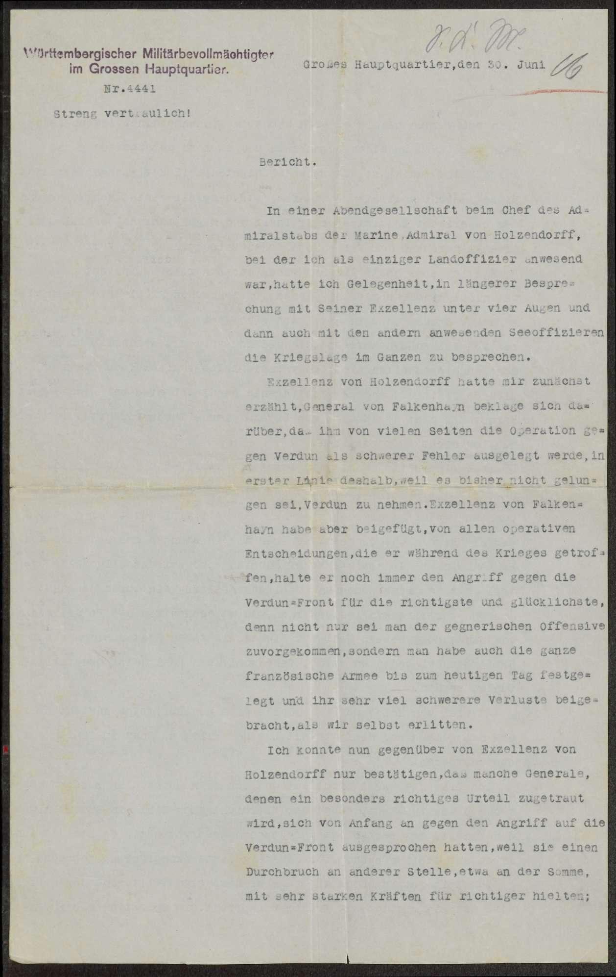 Berichte des württembergischen Militärbevollmächtigten beim Großen Hauptquartier, v. Graevenitz, an Weizsäcker über die militärische Lage u.a., Bild 2