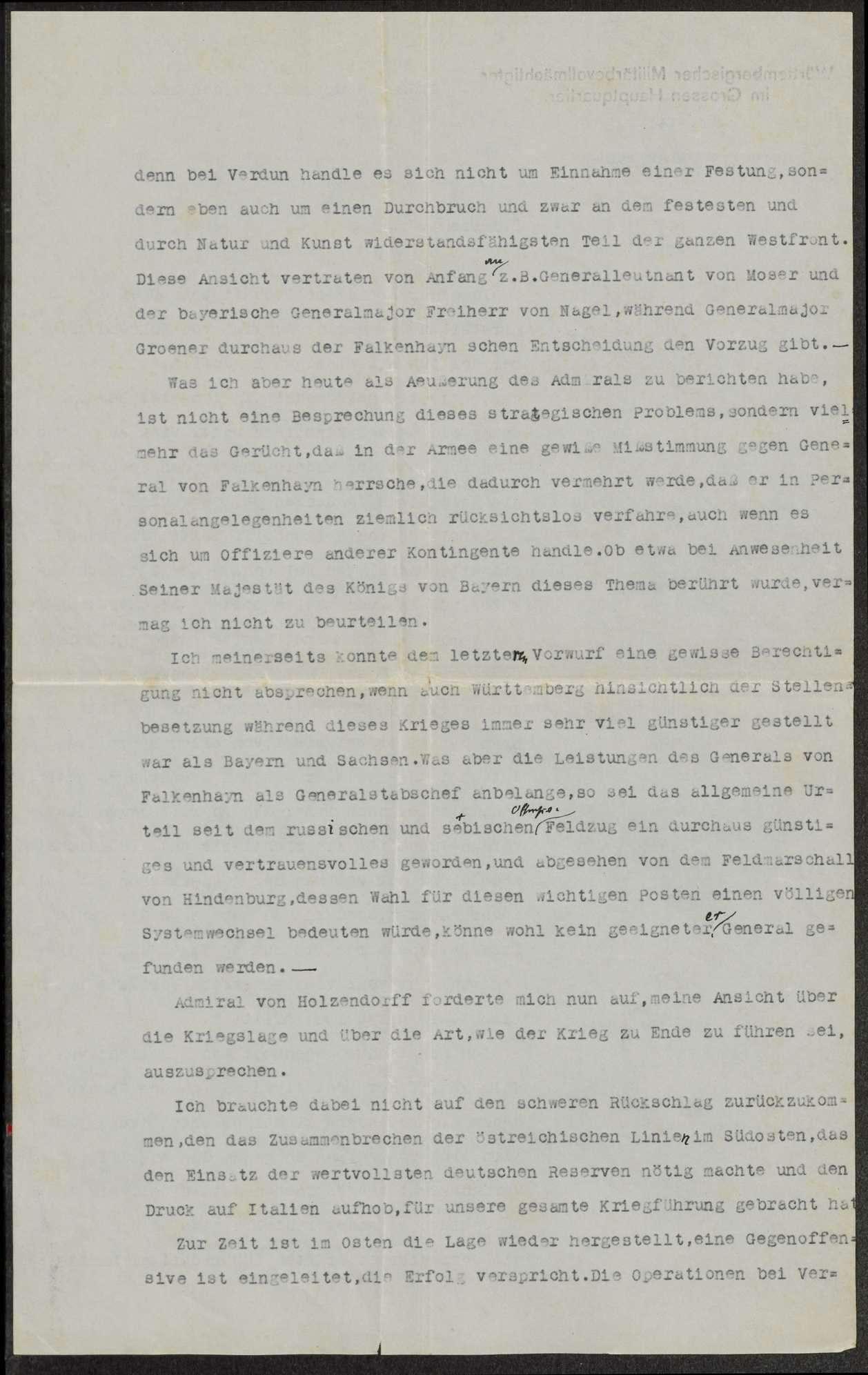 Berichte des württembergischen Militärbevollmächtigten beim Großen Hauptquartier, v. Graevenitz, an Weizsäcker über die militärische Lage u.a., Bild 3