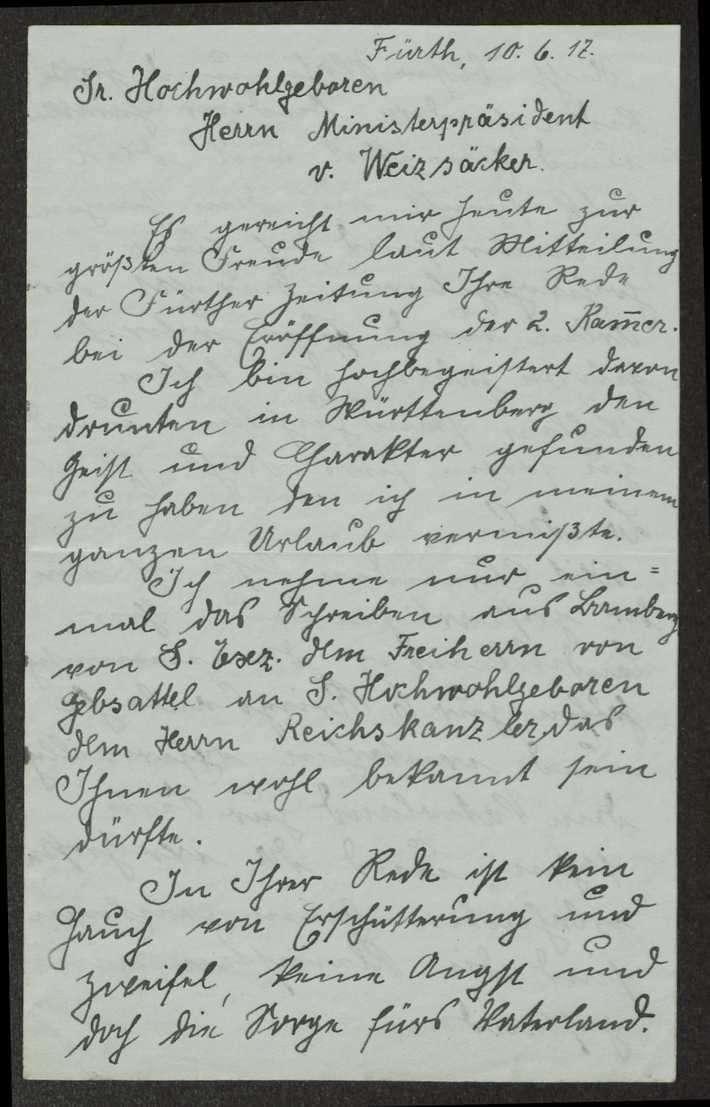 Schreiben und Telegramme an Weizsäcker in verschiedenen Angelegenheiten, Bild 3