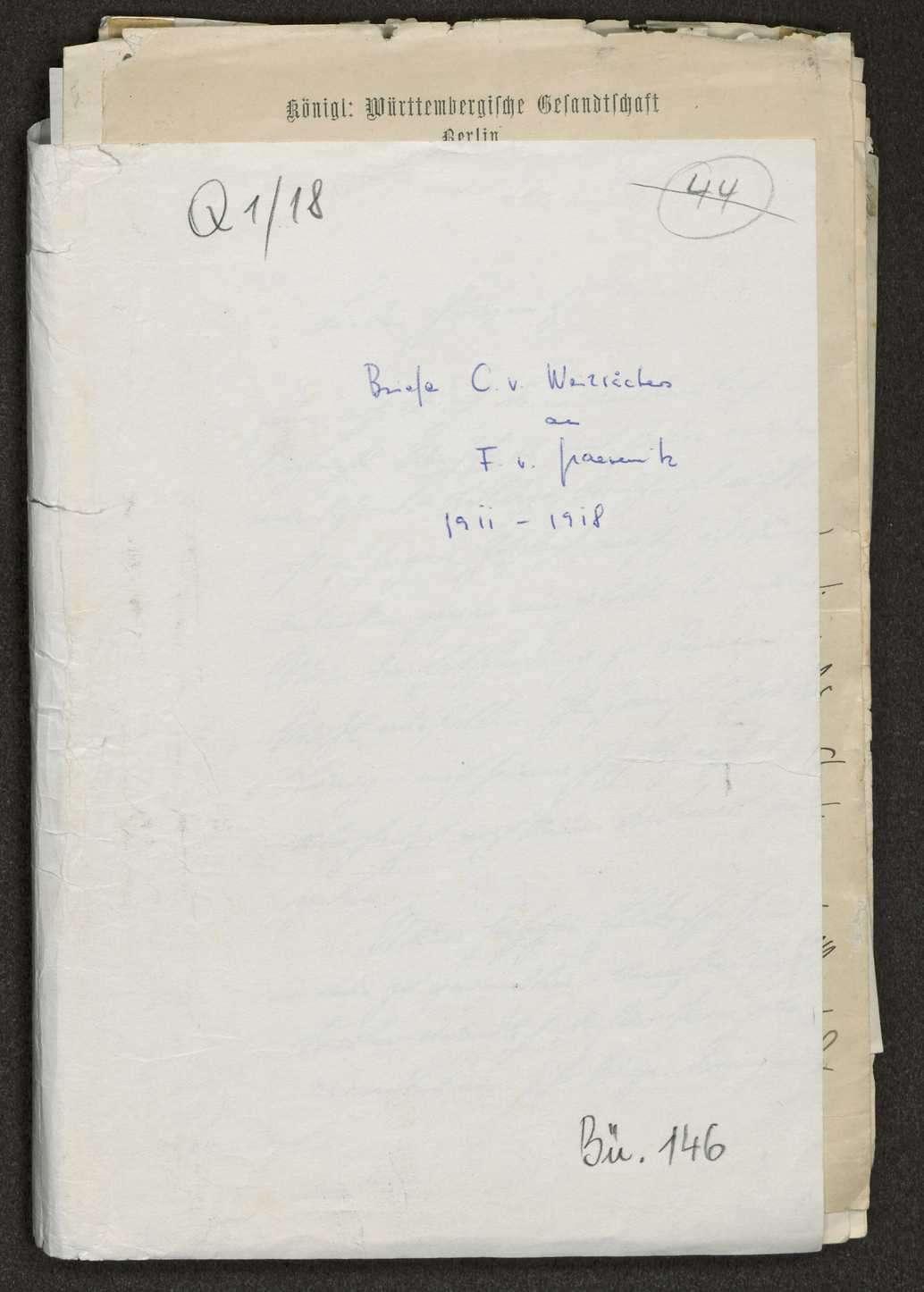 Schreiben Weizsäckers an Fritz von Graevenitz politischen, militärischen und privaten Inhalts, Bild 1