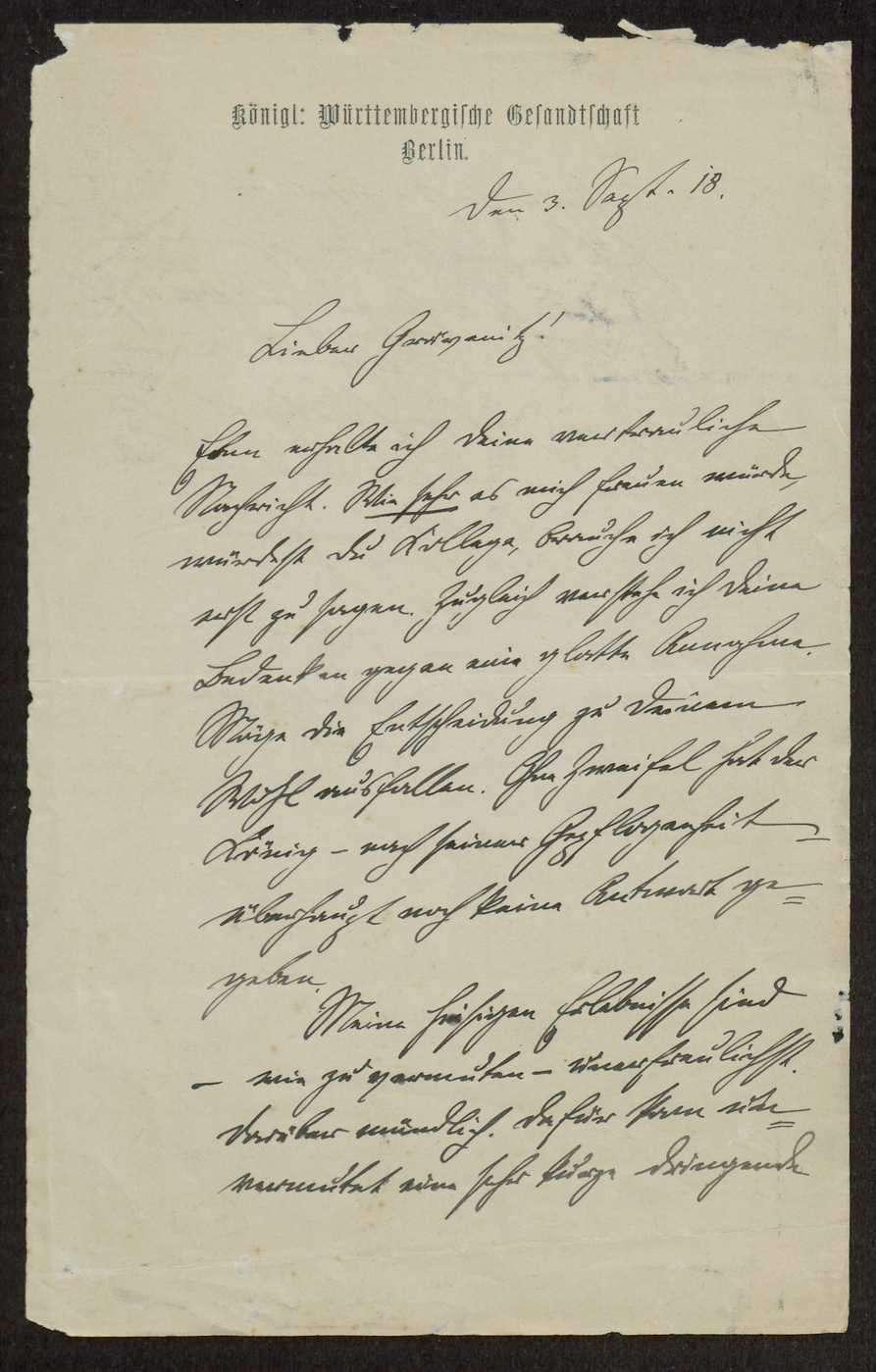 Schreiben Weizsäckers an Fritz von Graevenitz politischen, militärischen und privaten Inhalts, Bild 2