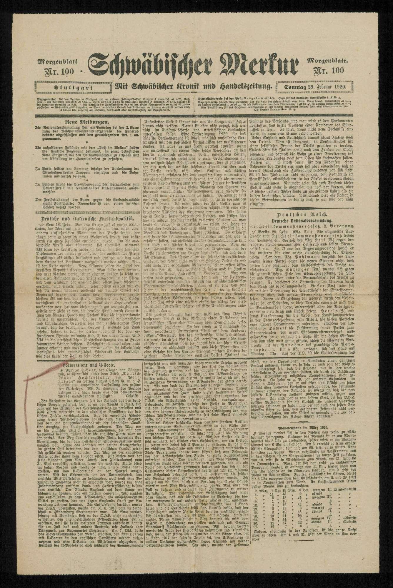 Der U-Boot-Krieg und der Kriegseintritt Amerikas. Zu den Erinnerungen an Tirpitz. Zeitungsartikel, Bild 1